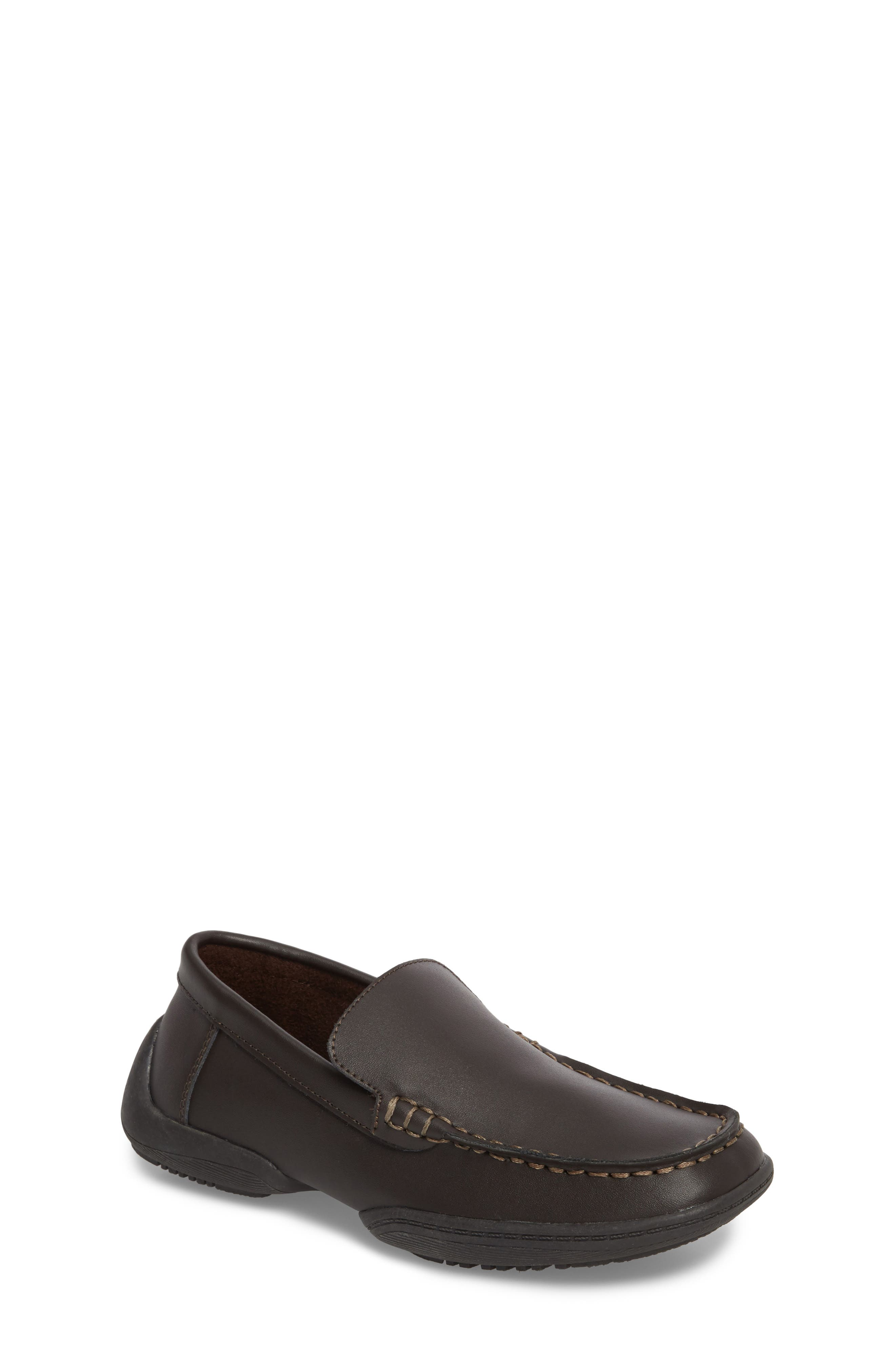 Driving Dime Moccasin,                         Main,                         color, Dark Brown Leather