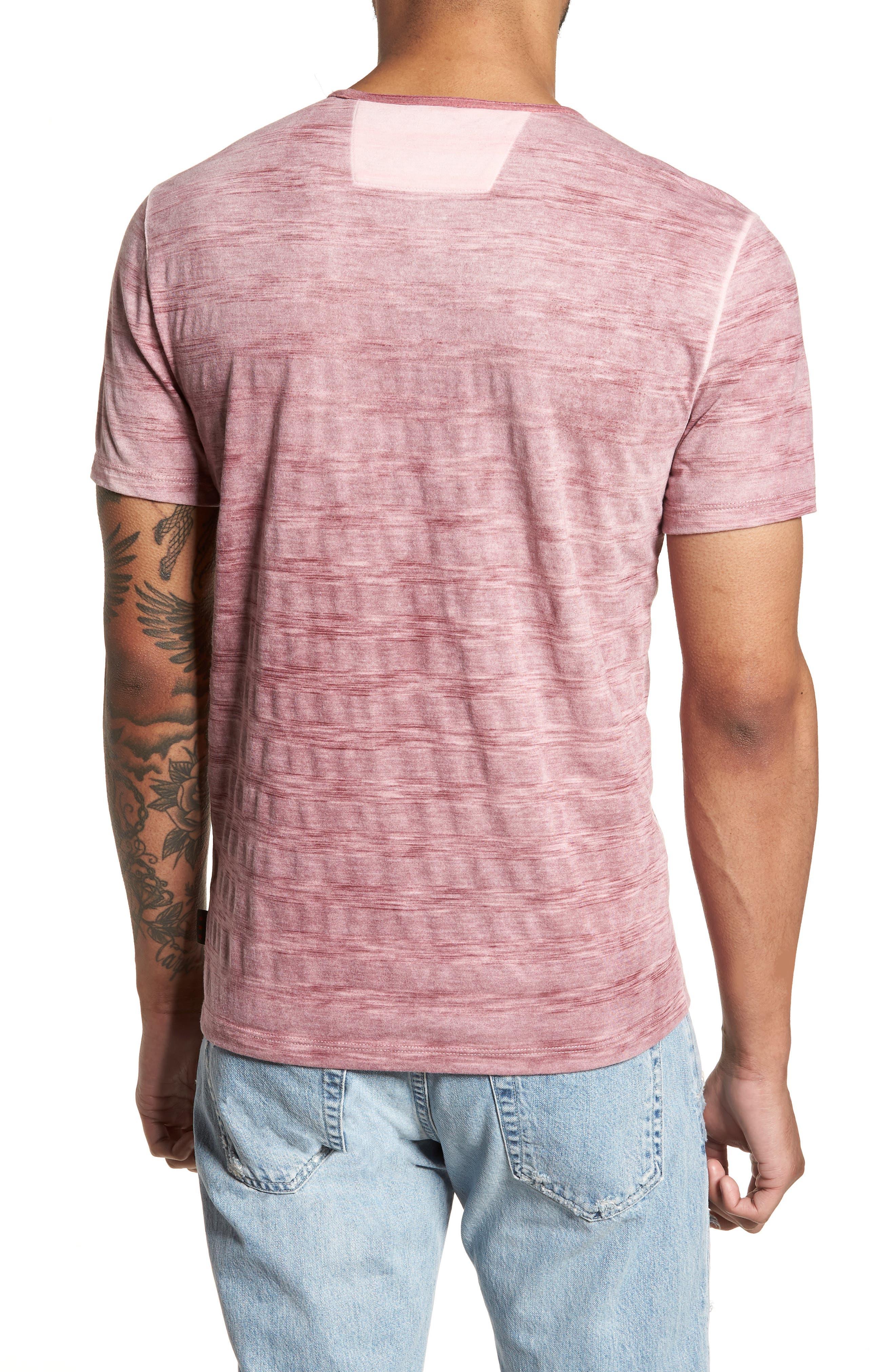Slim Fit Ombré Stripe T-Shirt,                             Alternate thumbnail 2, color,                             Cranberry