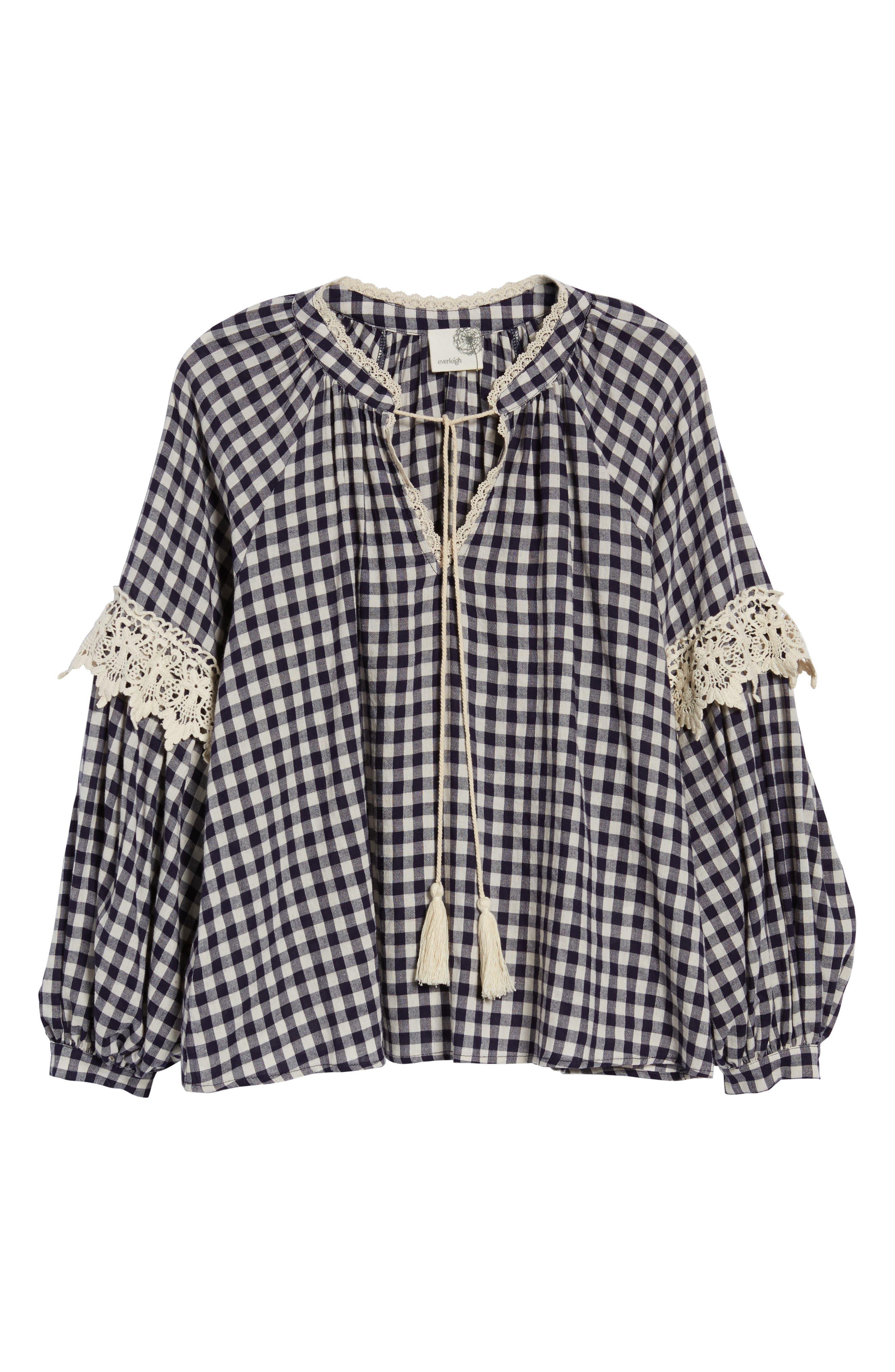 Gingham Check Peasant Top,                             Alternate thumbnail 7, color,                             Navy White Gingham