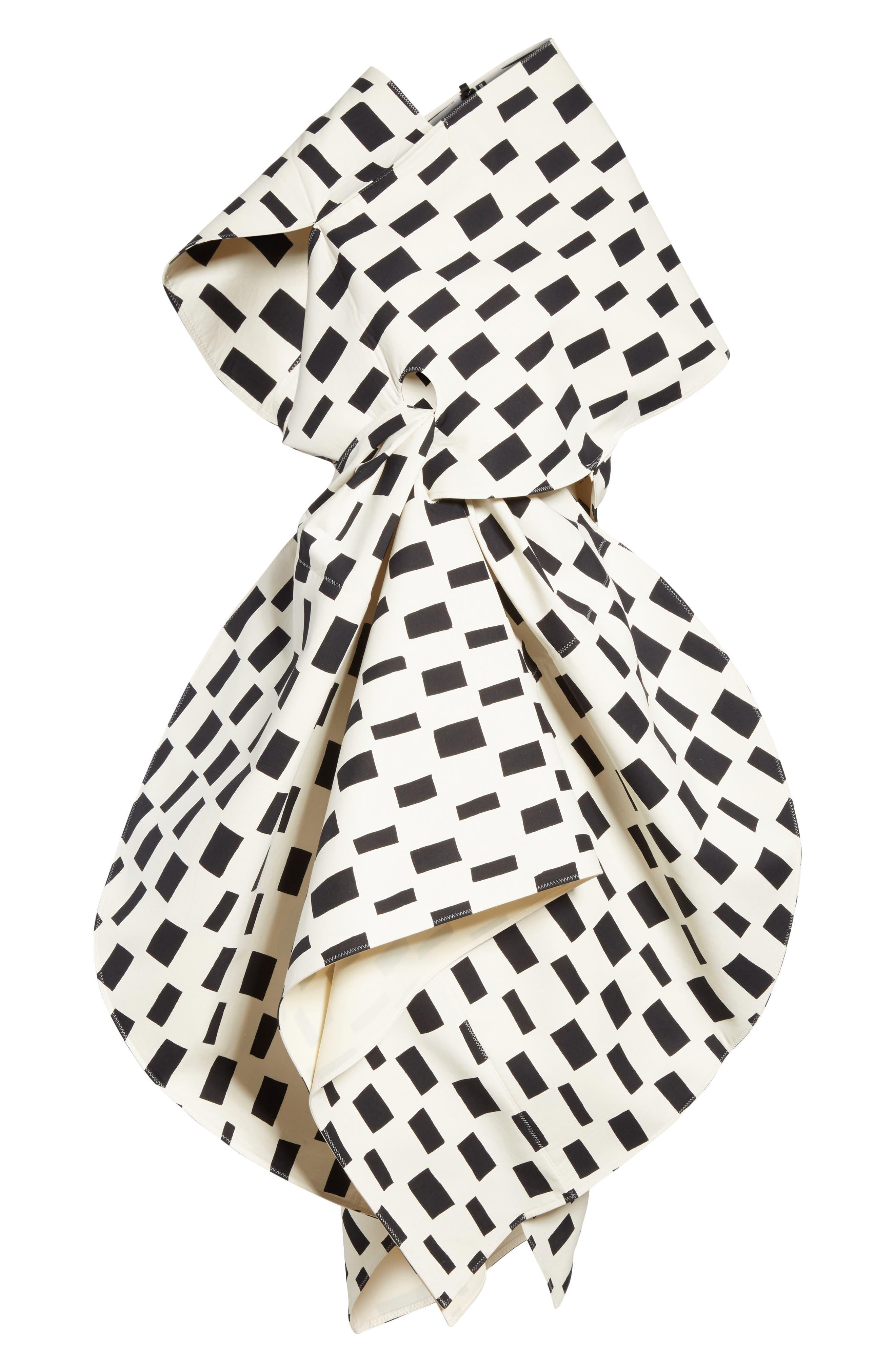 Interweave Geo Print Dress,                             Alternate thumbnail 7, color,                             Off White/ Black