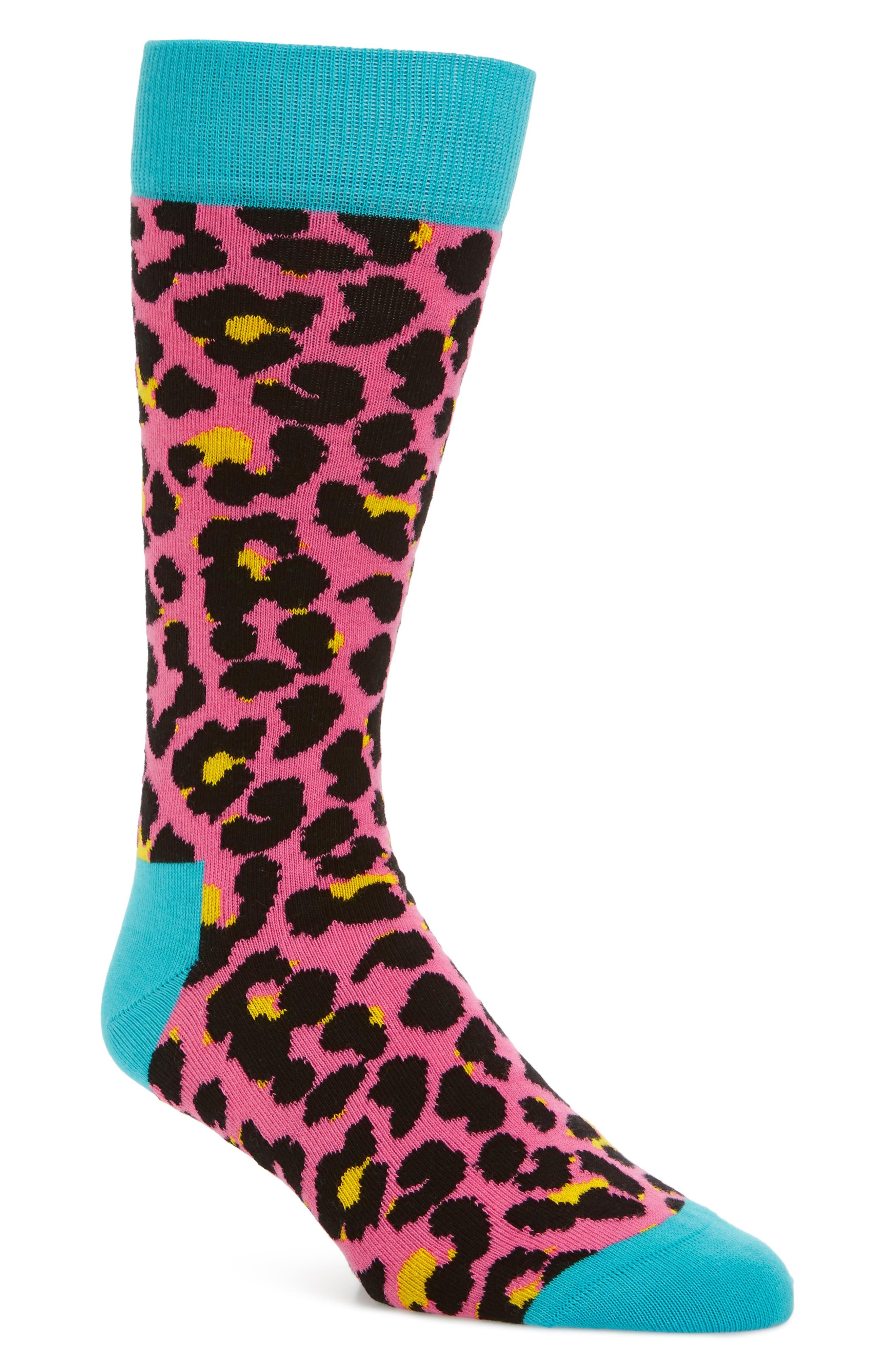 Leopard Crew Socks,                         Main,                         color, Pink Multi