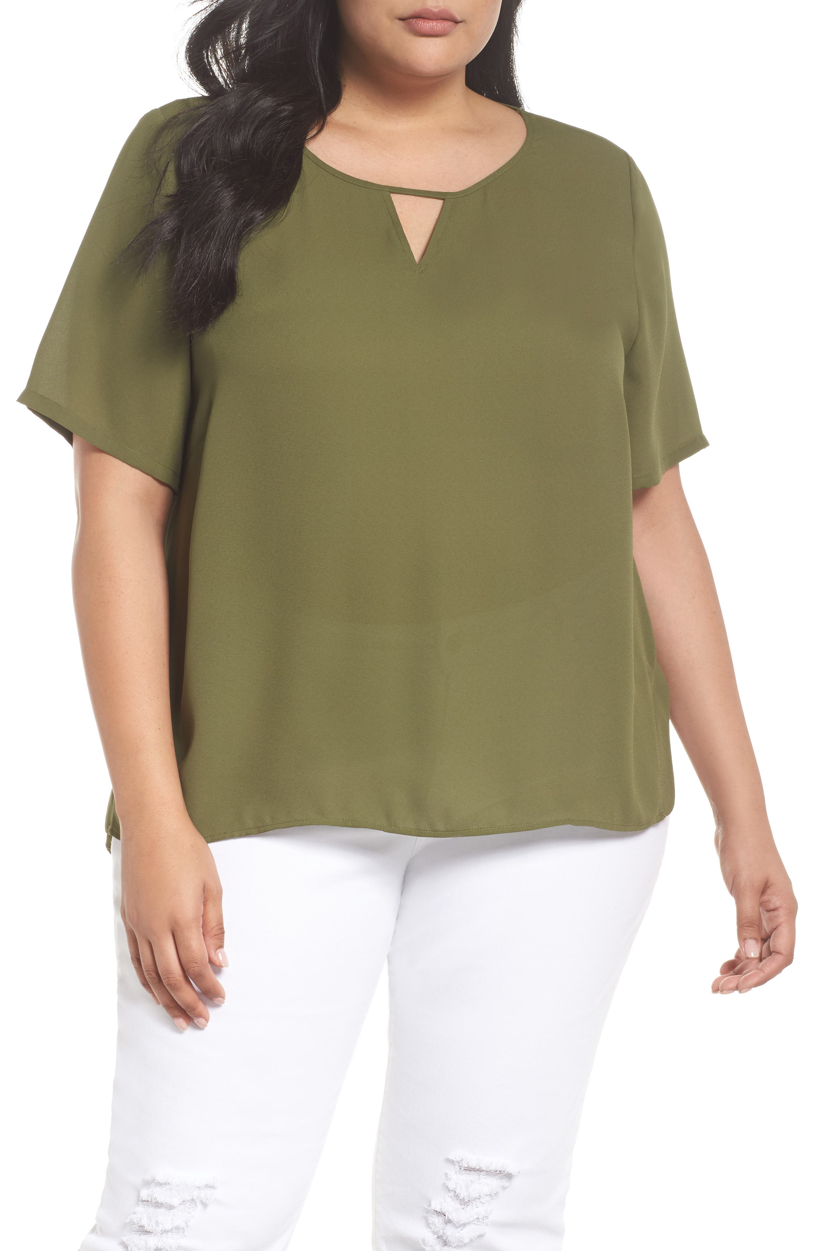 Curved High/Low Top,                         Main,                         color, Olive Moss