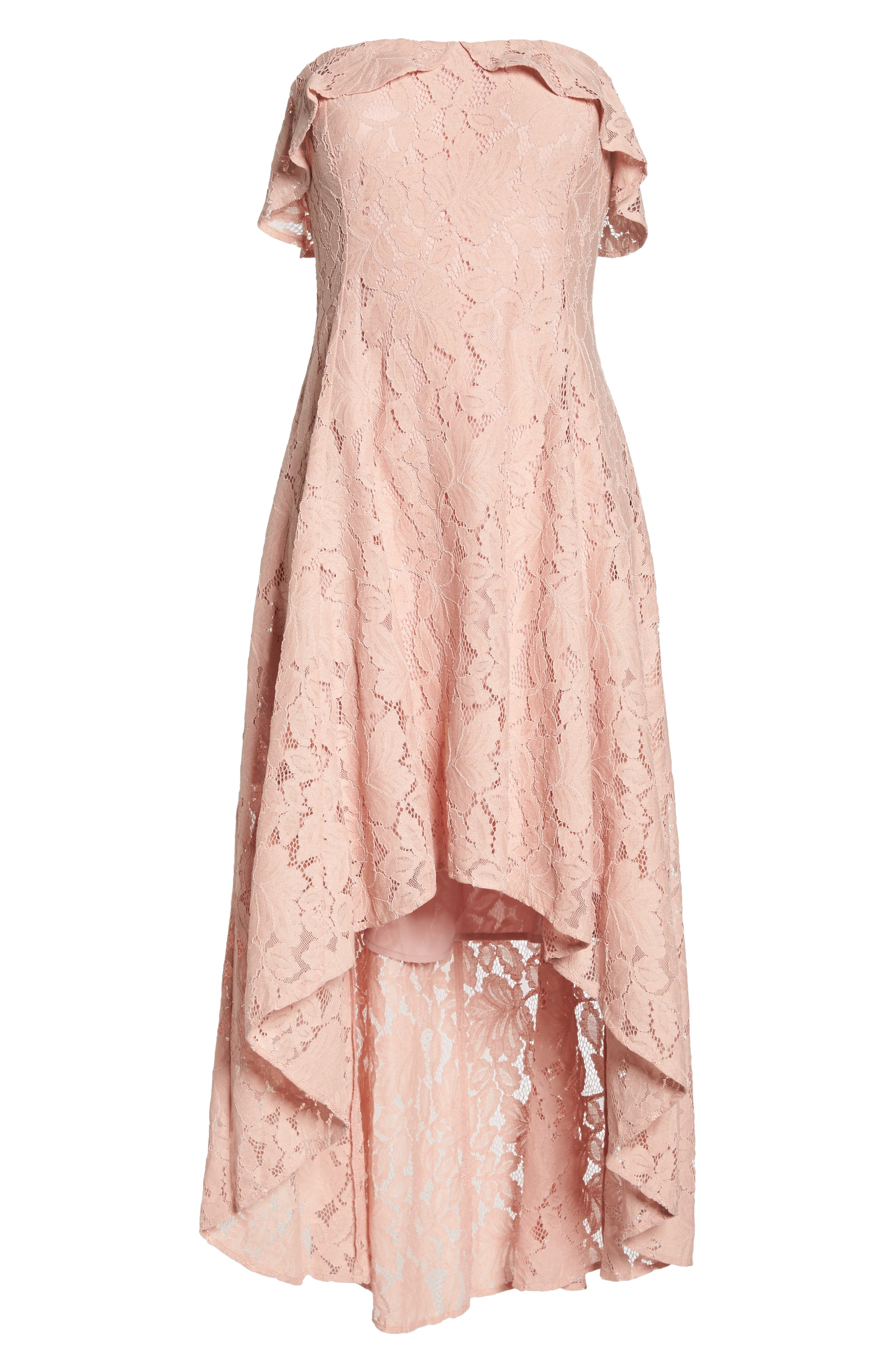 Strapless Lace High/Low Dress,                             Alternate thumbnail 7, color,                             Peach
