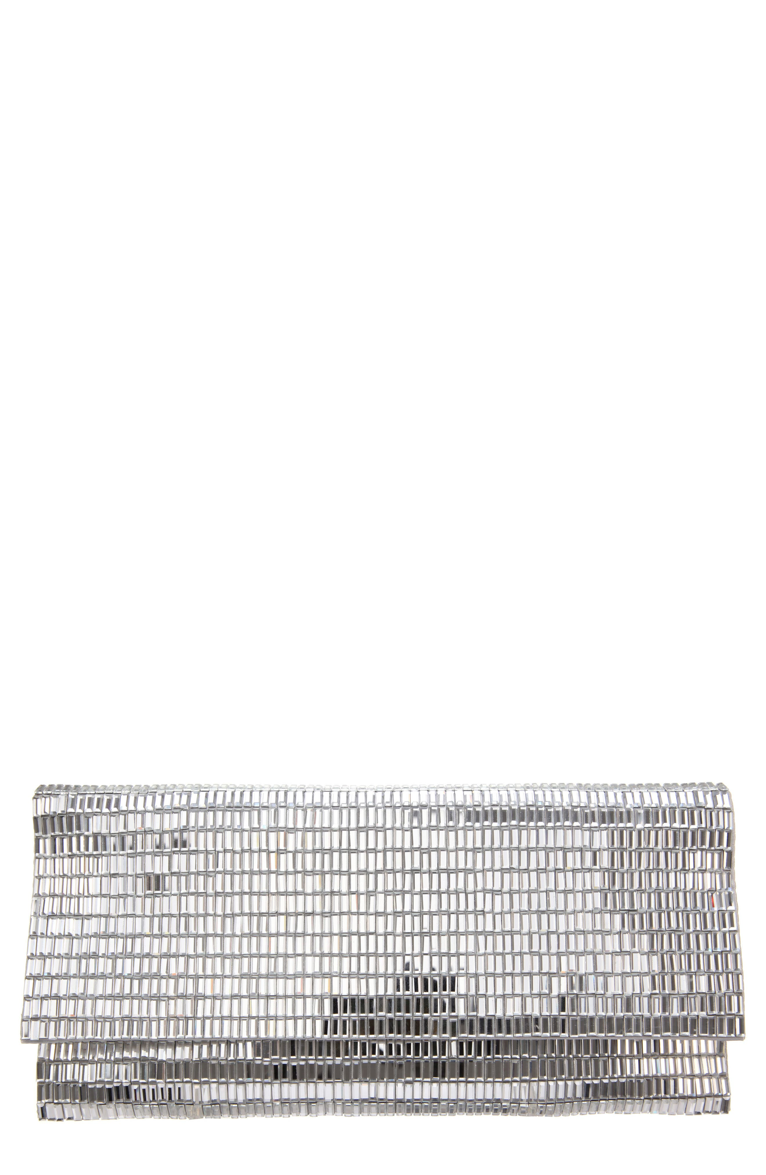 Crystal Foldover Clutch,                         Main,                         color, Silver