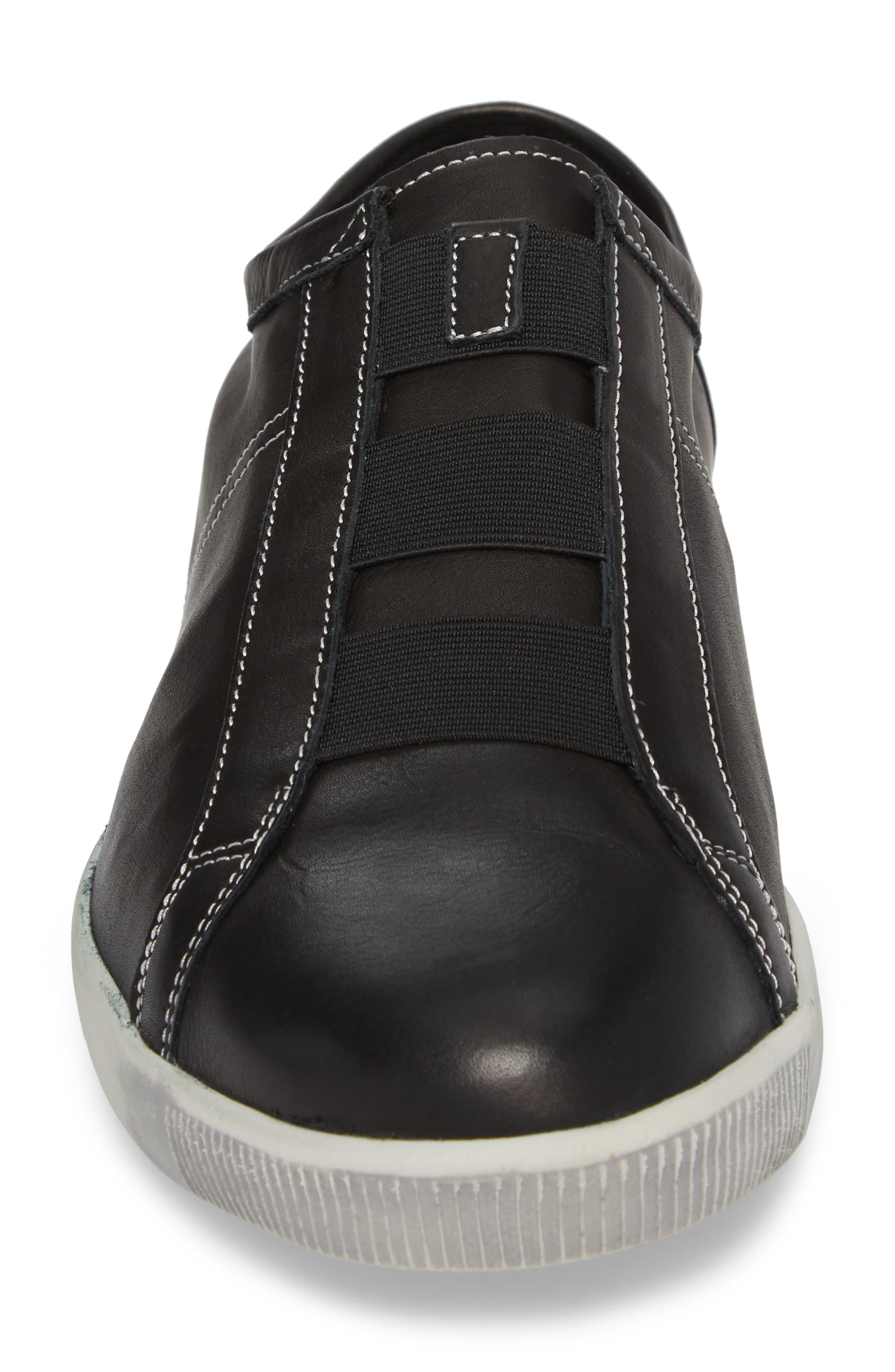 Tip Laceless Sneaker,                             Alternate thumbnail 4, color,                             Black Leather