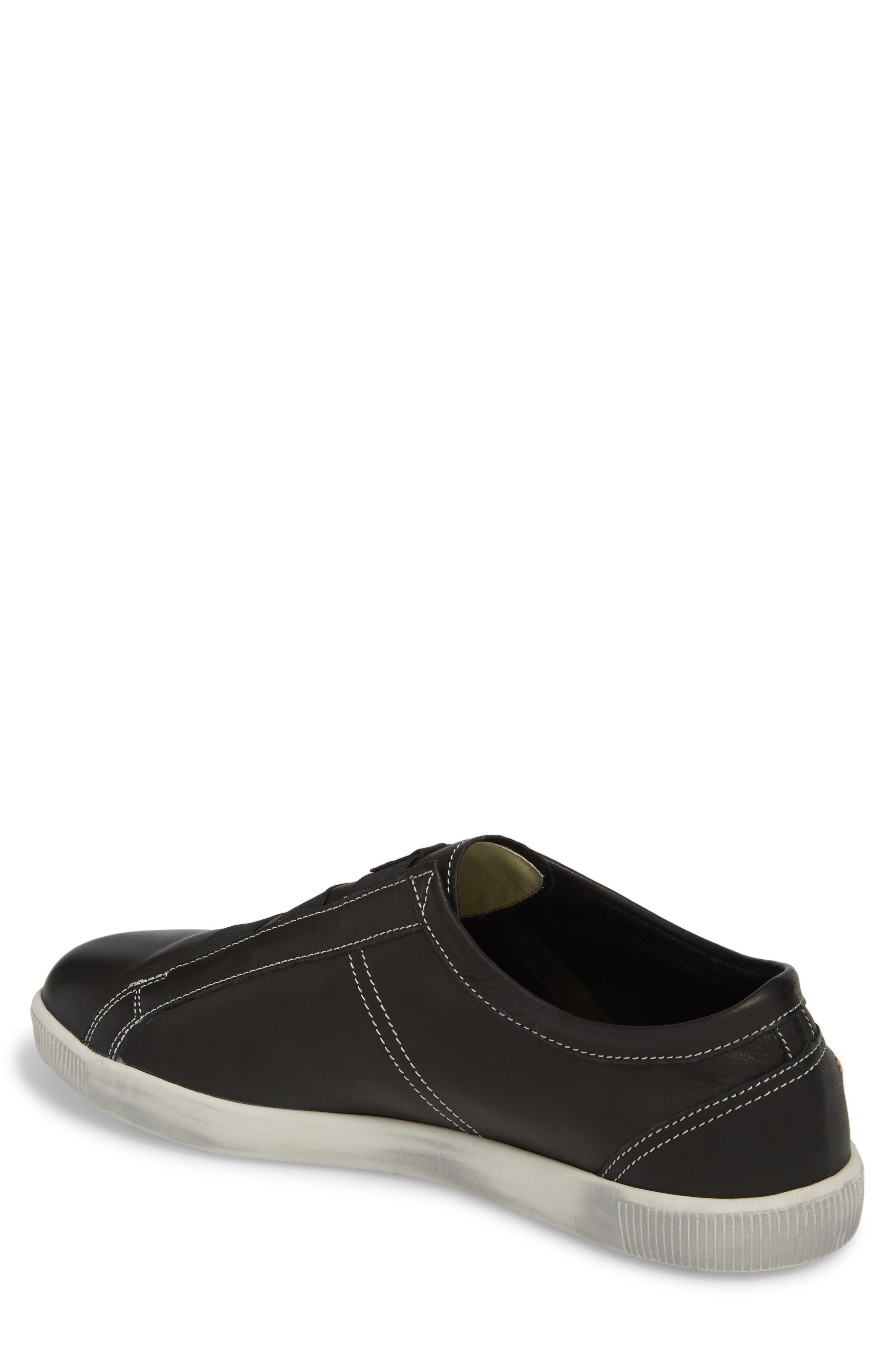 Tip Laceless Sneaker,                             Alternate thumbnail 2, color,                             Black Leather