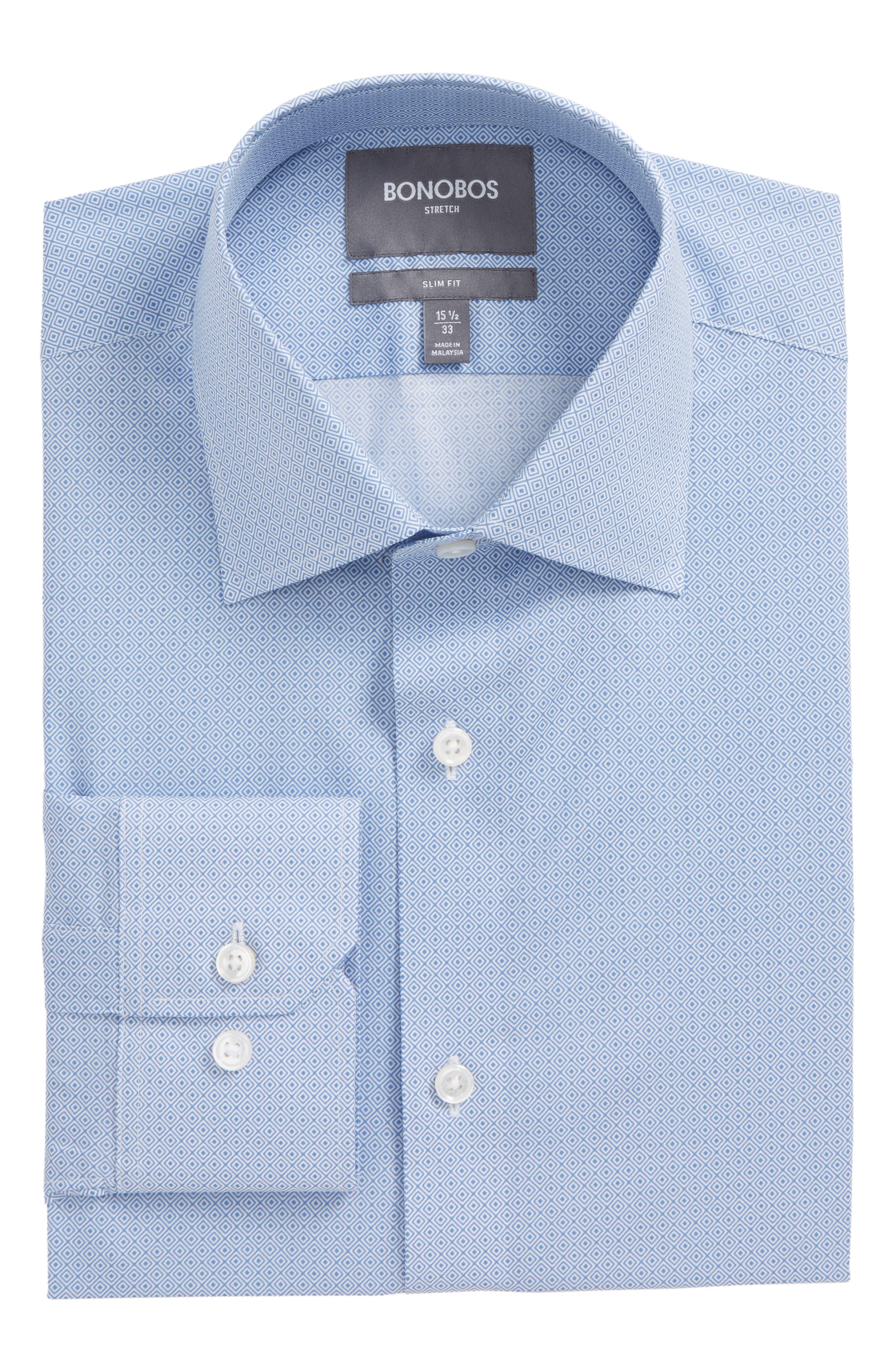 Frampton Slim Fit Stretch Geometric Dress Shirt,                         Main,                         color, Blue Raffia