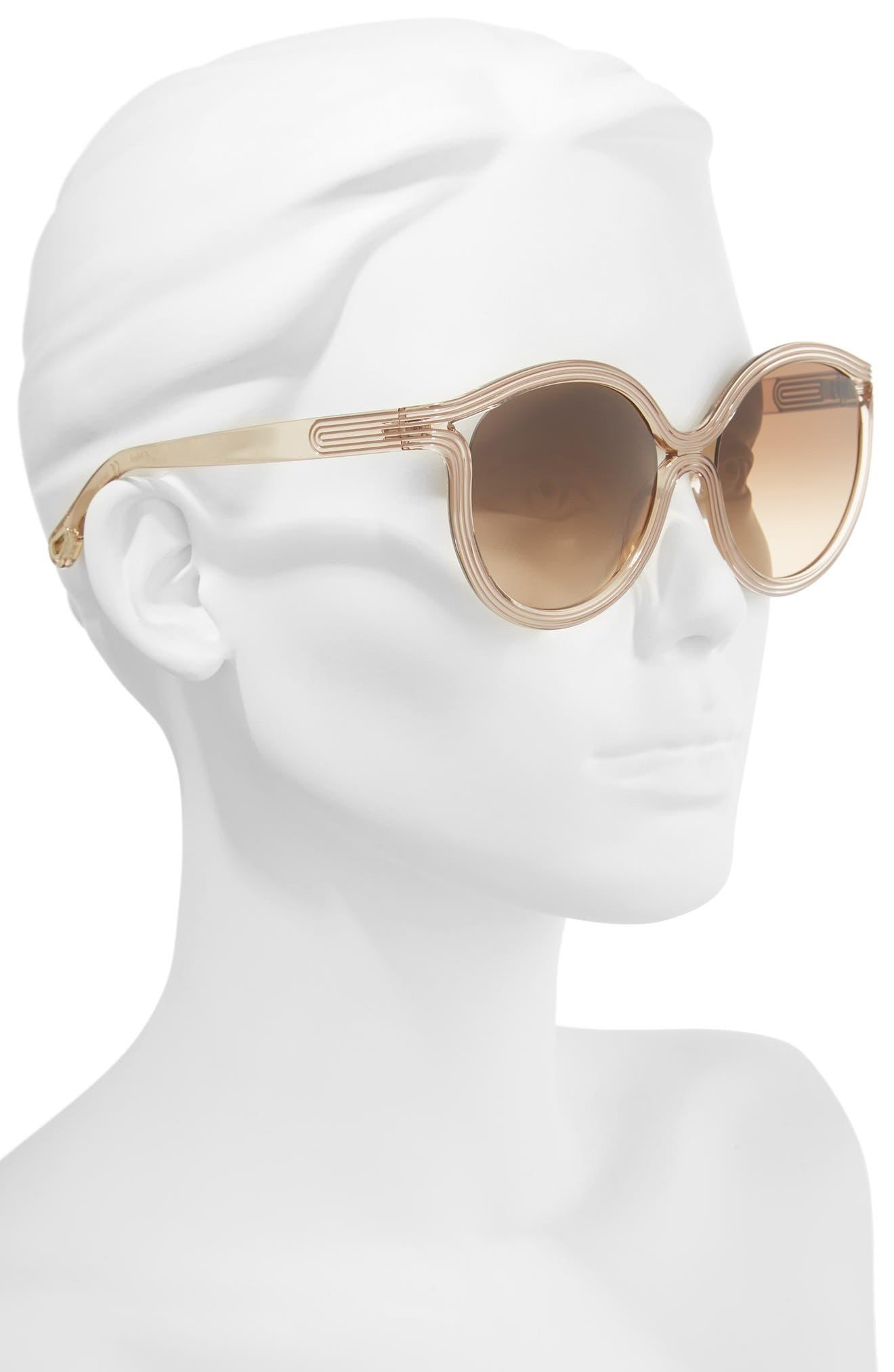 Alternate Image 2  - Chloé Grooves 57mm Cat Eye Sunglasses