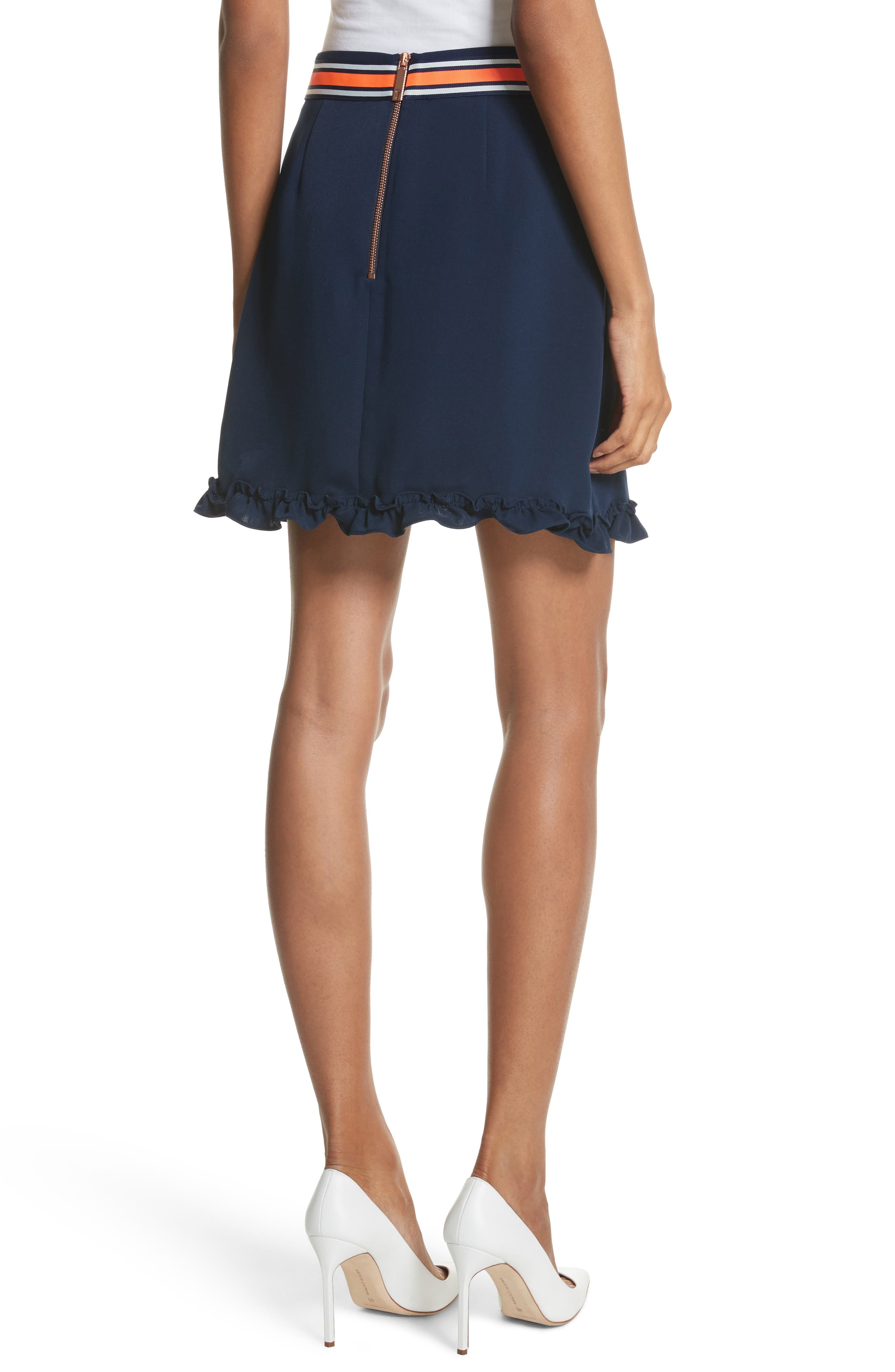 Xzenia Bow Miniskirt,                             Alternate thumbnail 2, color,                             Navy