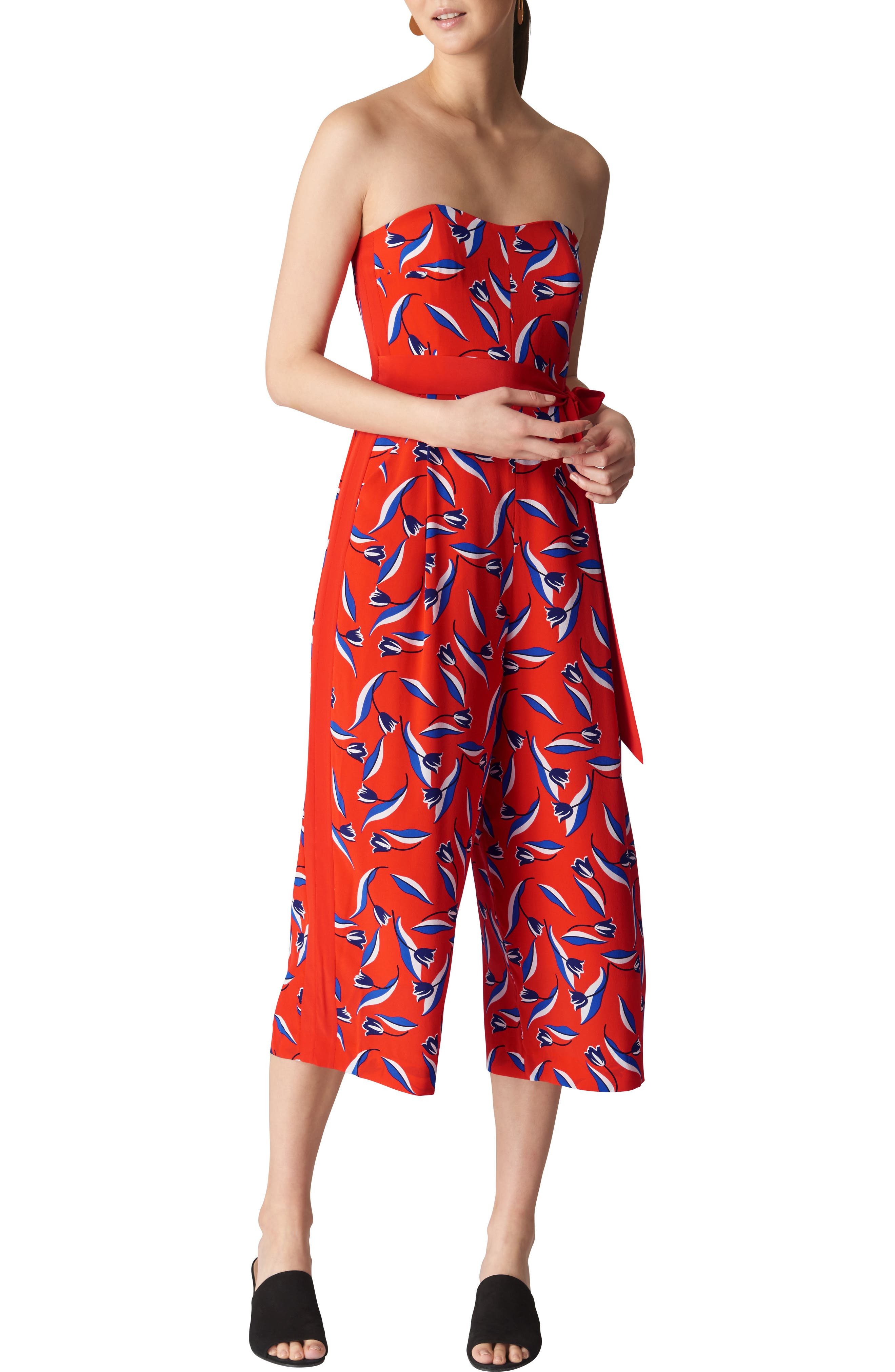 Lyza Tulip Print Strapless Silk Jumpsuit,                         Main,                         color, Red/ Multi