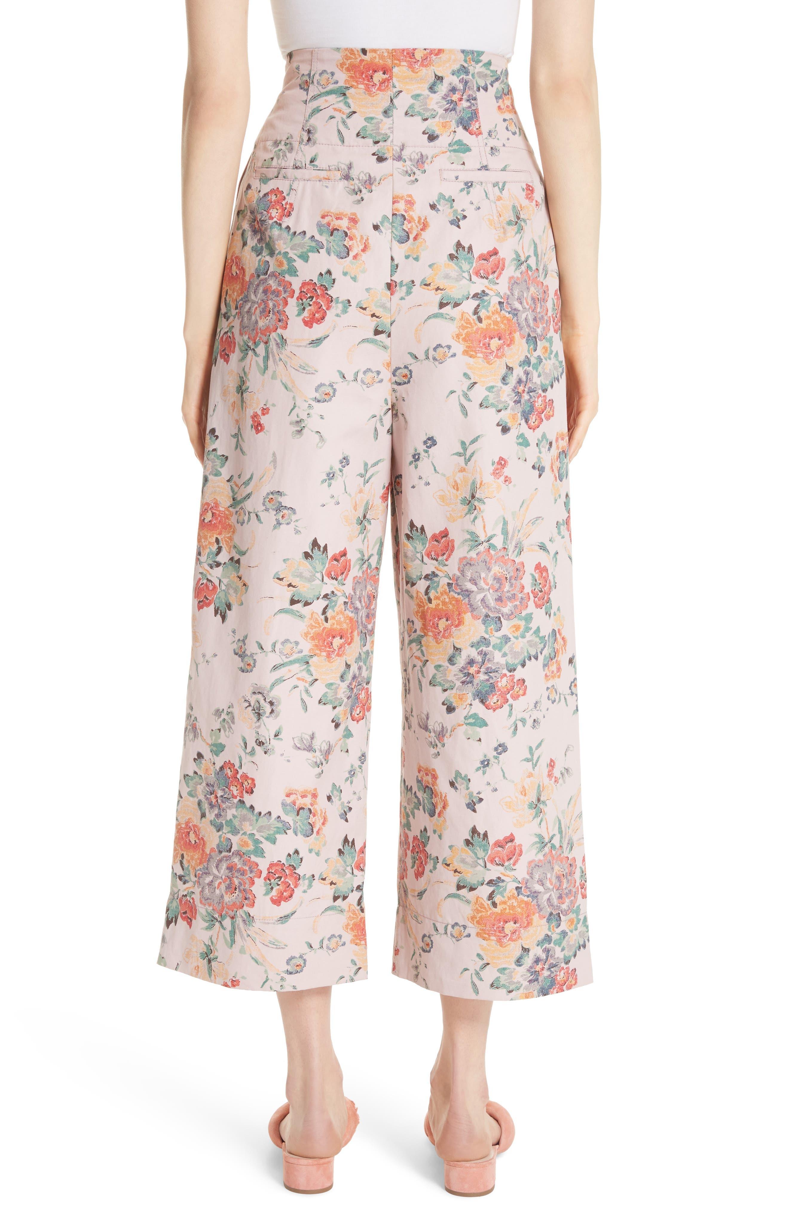 Marlena Floral Crop Pants,                             Alternate thumbnail 2, color,                             Dusty Rose Combo