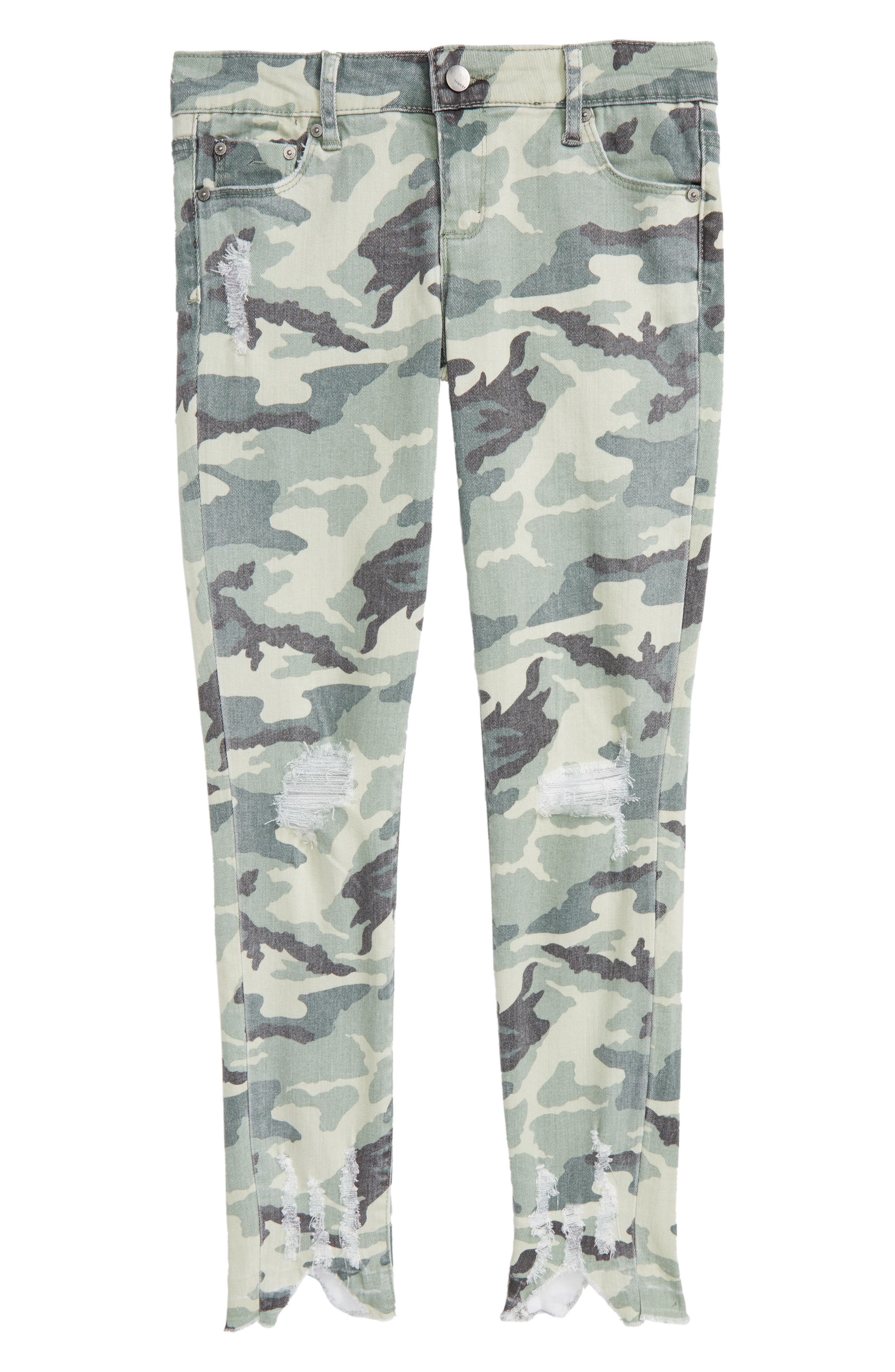 Camo Distressed Crop Jeans,                             Main thumbnail 1, color,                             Green