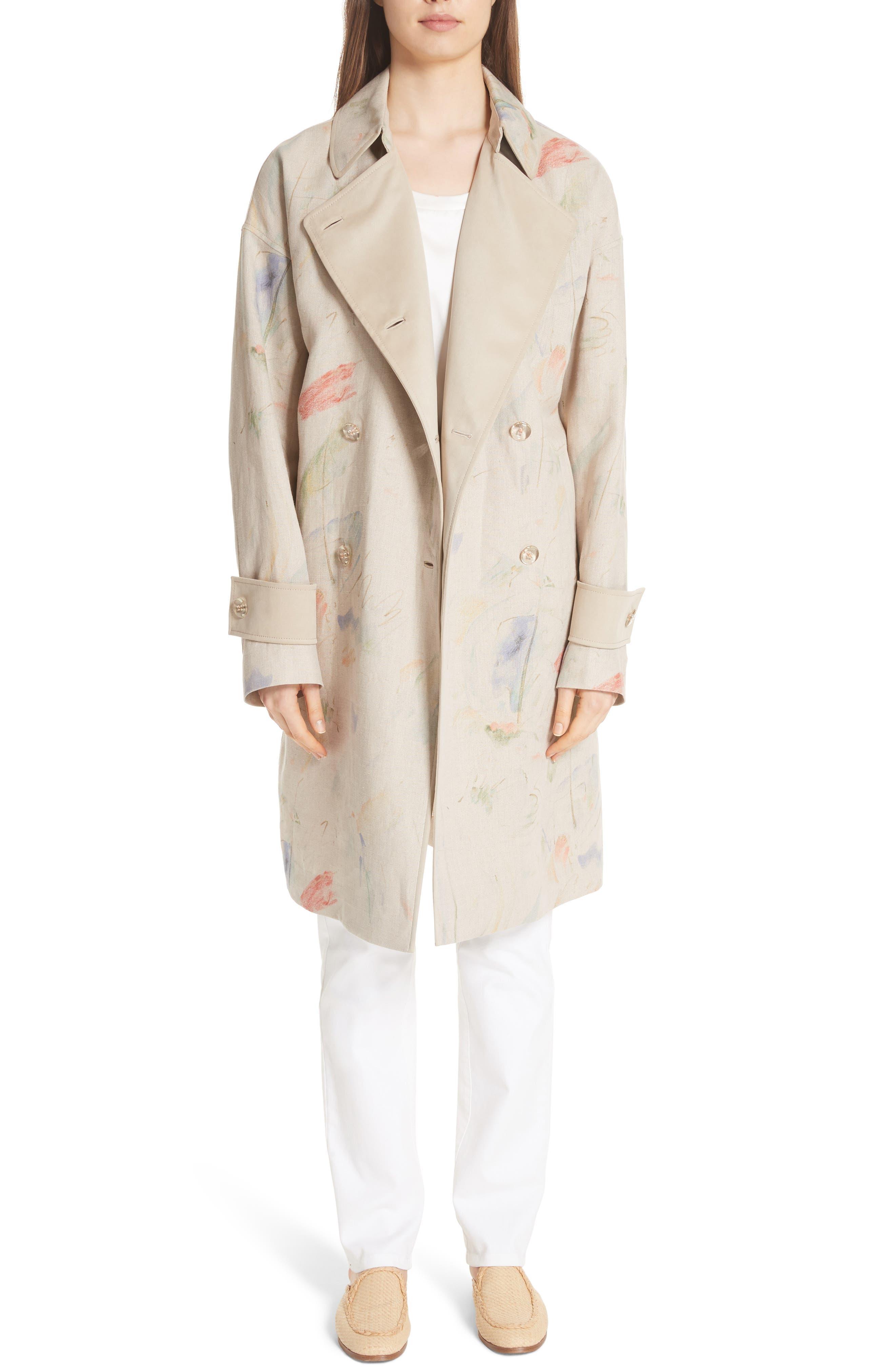 Laurita Linen Trench Coat,                             Alternate thumbnail 7, color,                             Soba Multi