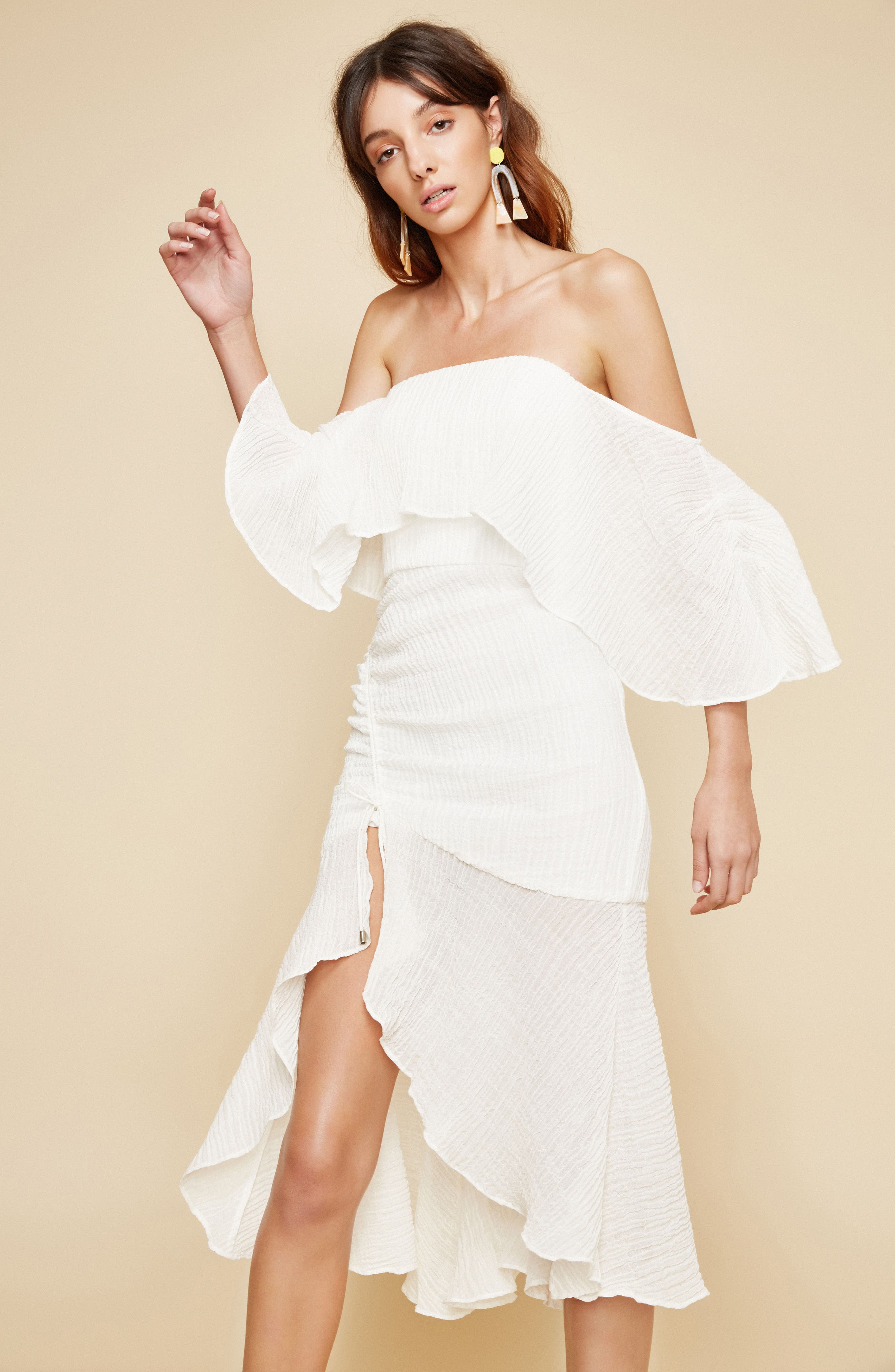 Sacrifices Ruched Off the Shoulder Dress,                             Alternate thumbnail 2, color,                             Ivory