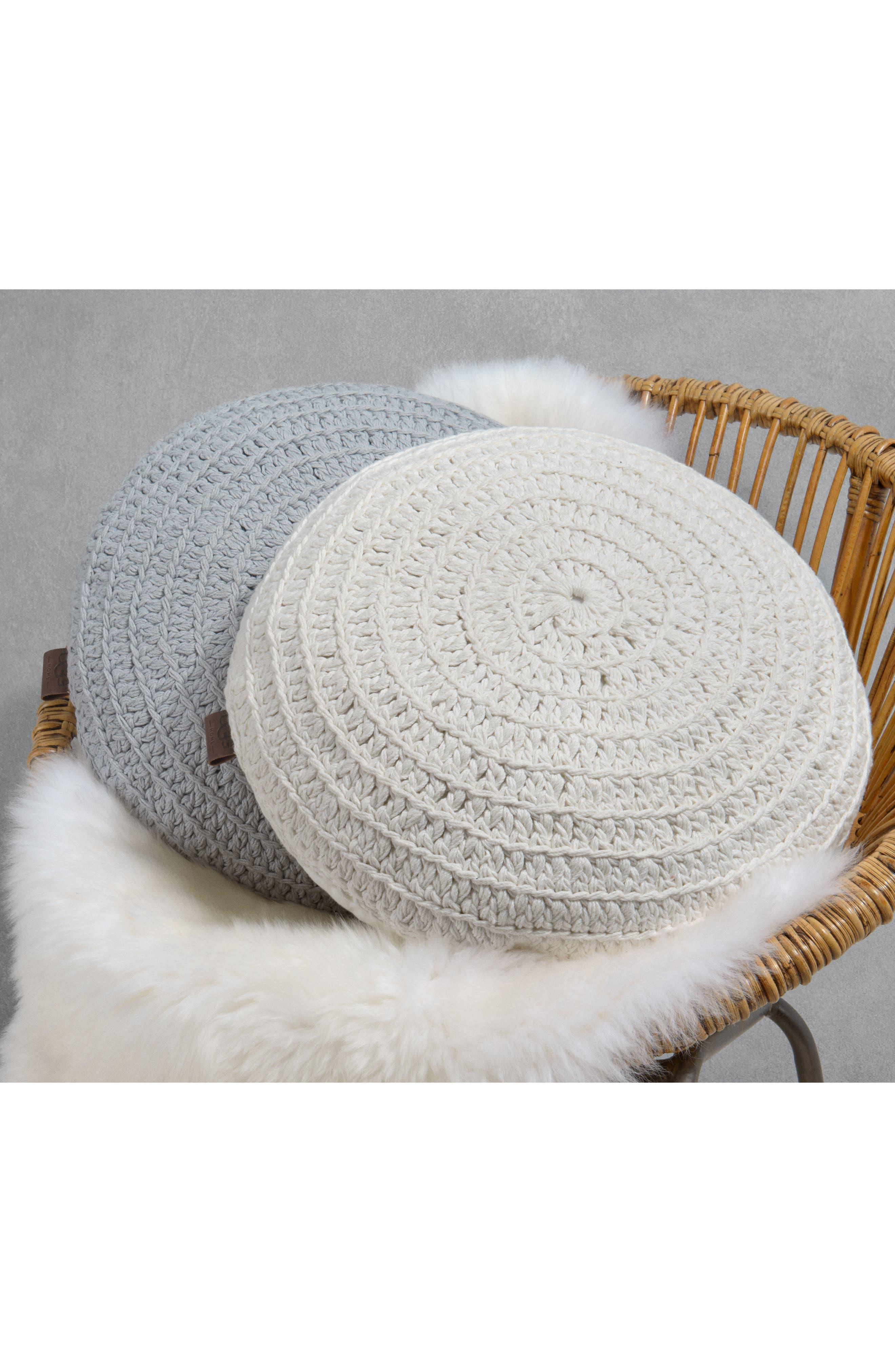 Round Crochet Accent Pillow,                             Alternate thumbnail 2, color,                             Snow