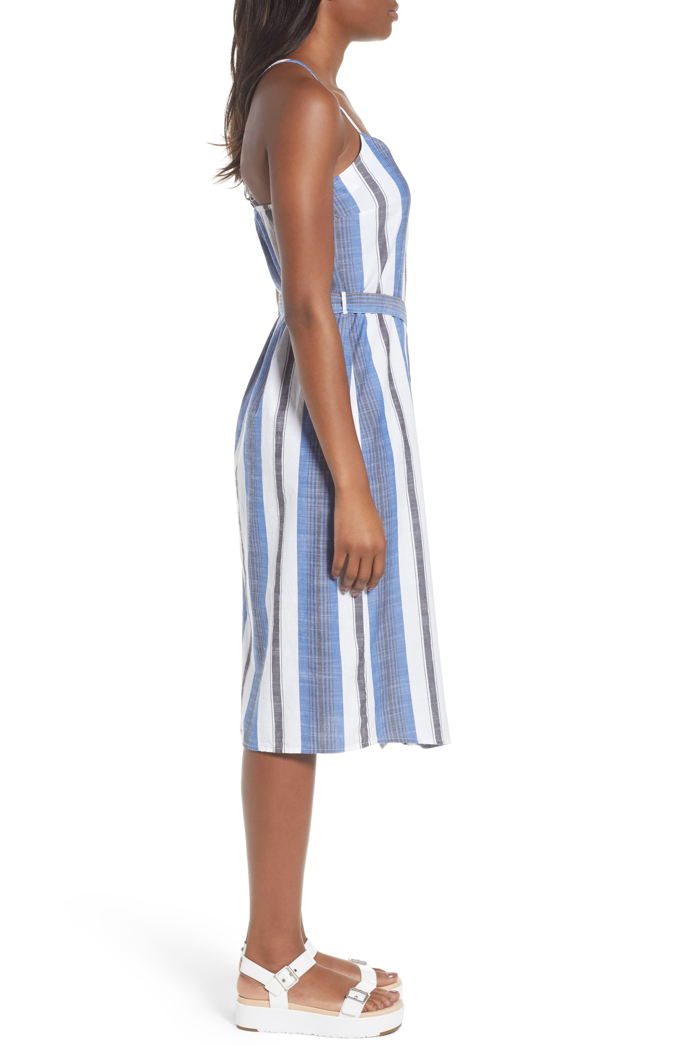 Stripe Cotton Sundress,                             Alternate thumbnail 3, color,                             Blue Multi