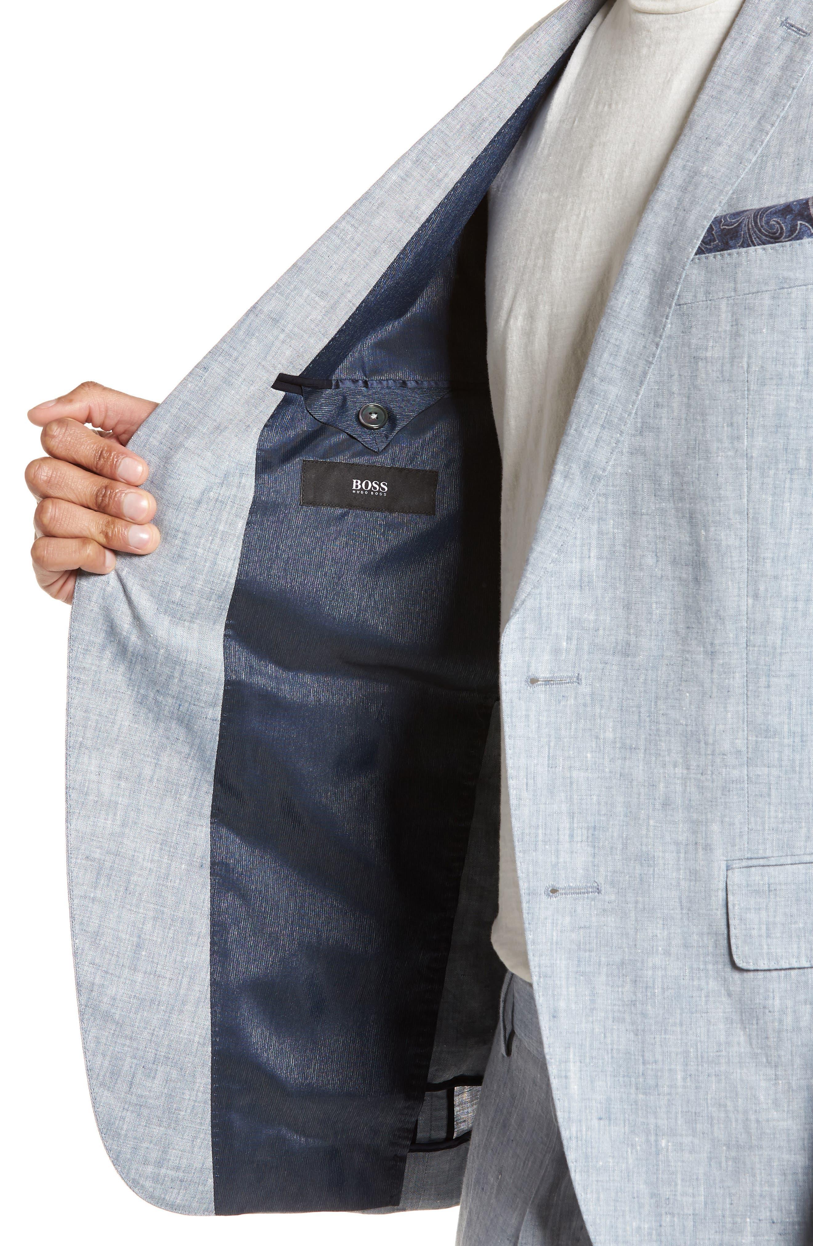 Helford/Gander Trim Fit Solid Linen Suit,                             Alternate thumbnail 4, color,                             Light Blue