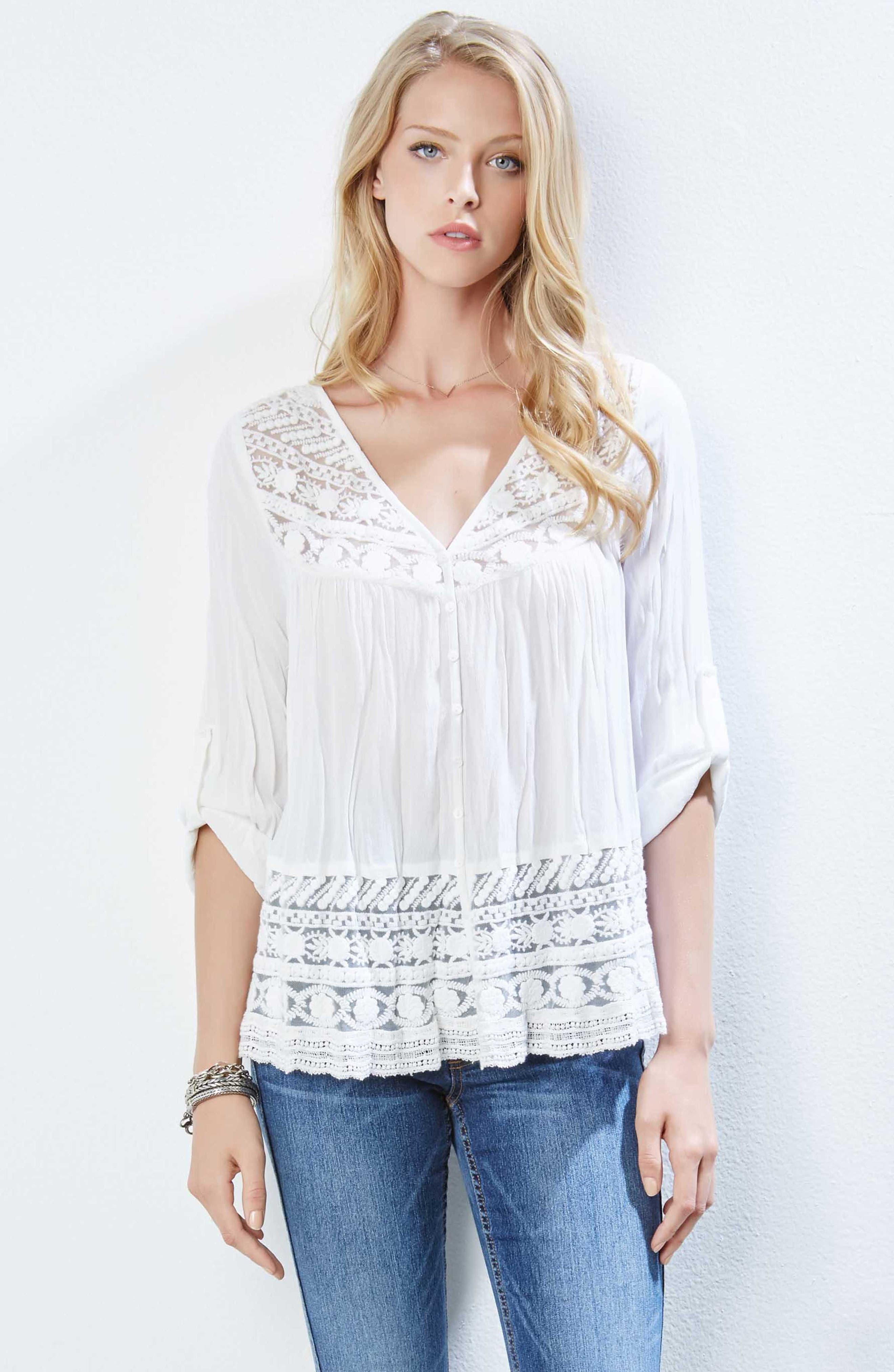 Lace Inset Top,                             Alternate thumbnail 2, color,                             Off White