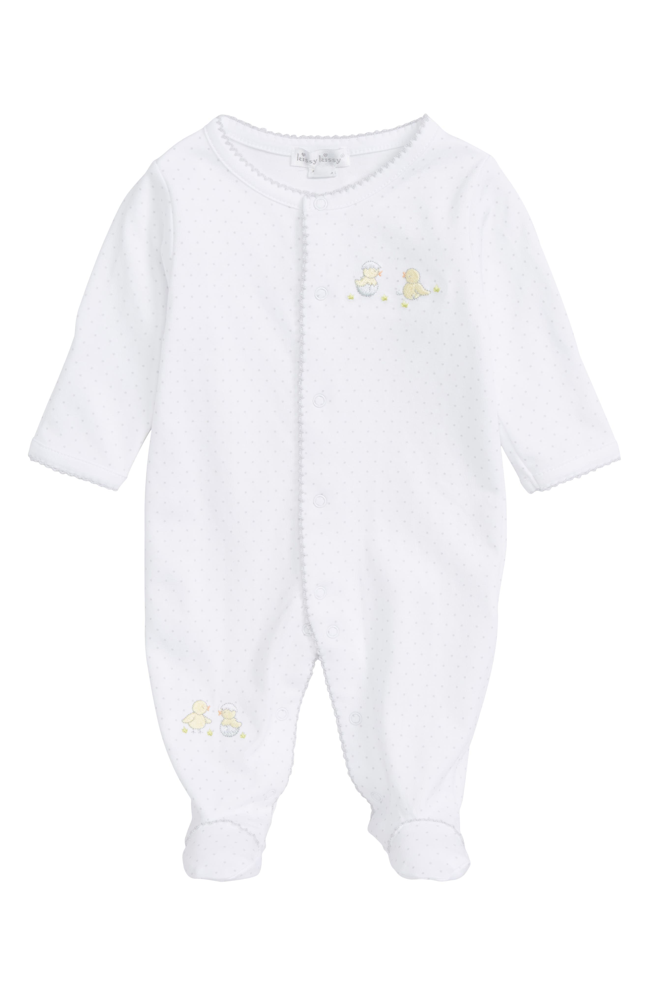 Alternate Image 1 Selected - Kissy Kissy Hatchlings Pima Cotton Footie (Baby)