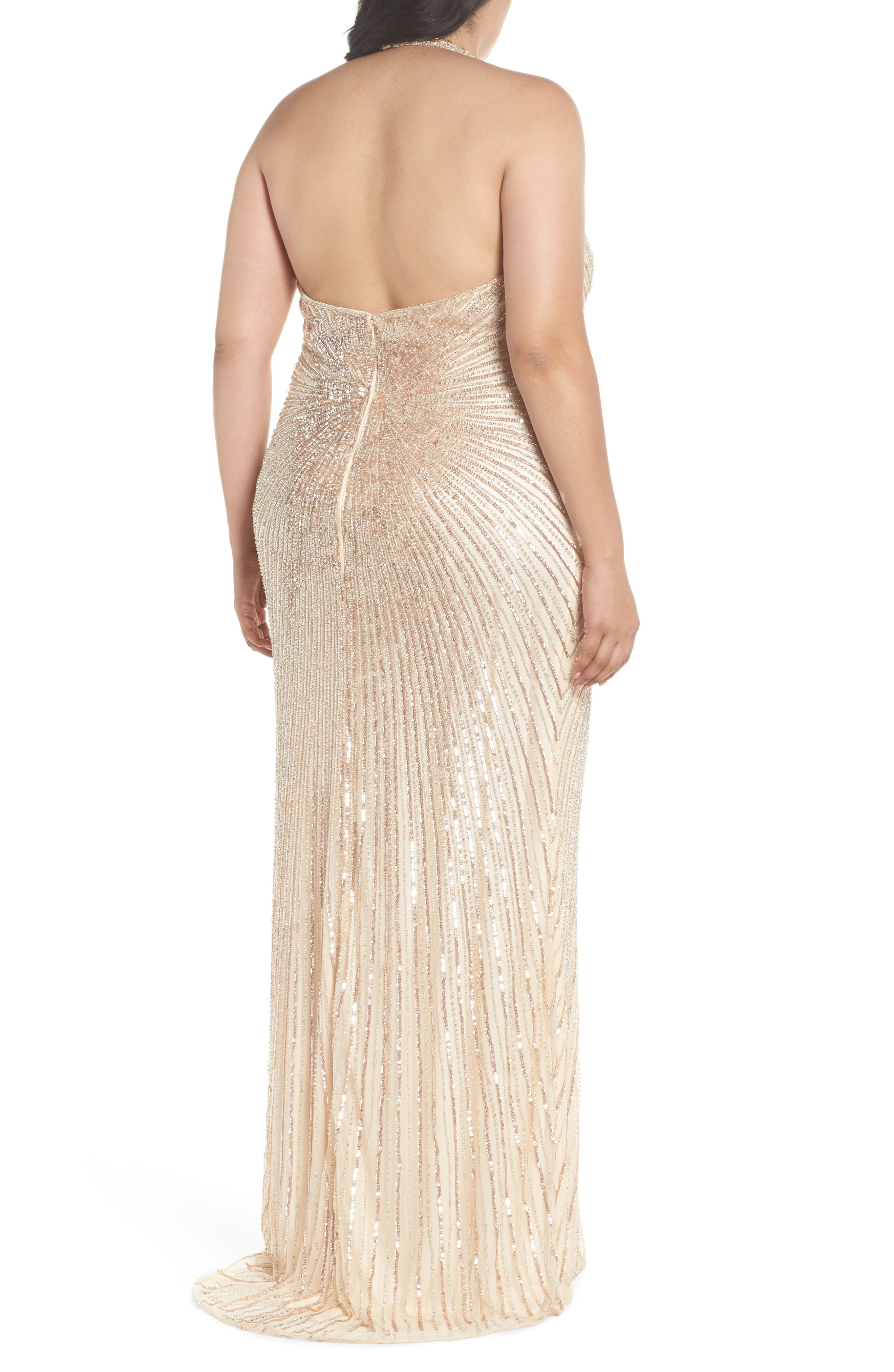Sequin Halter Gown,                             Alternate thumbnail 2, color,                             Nude