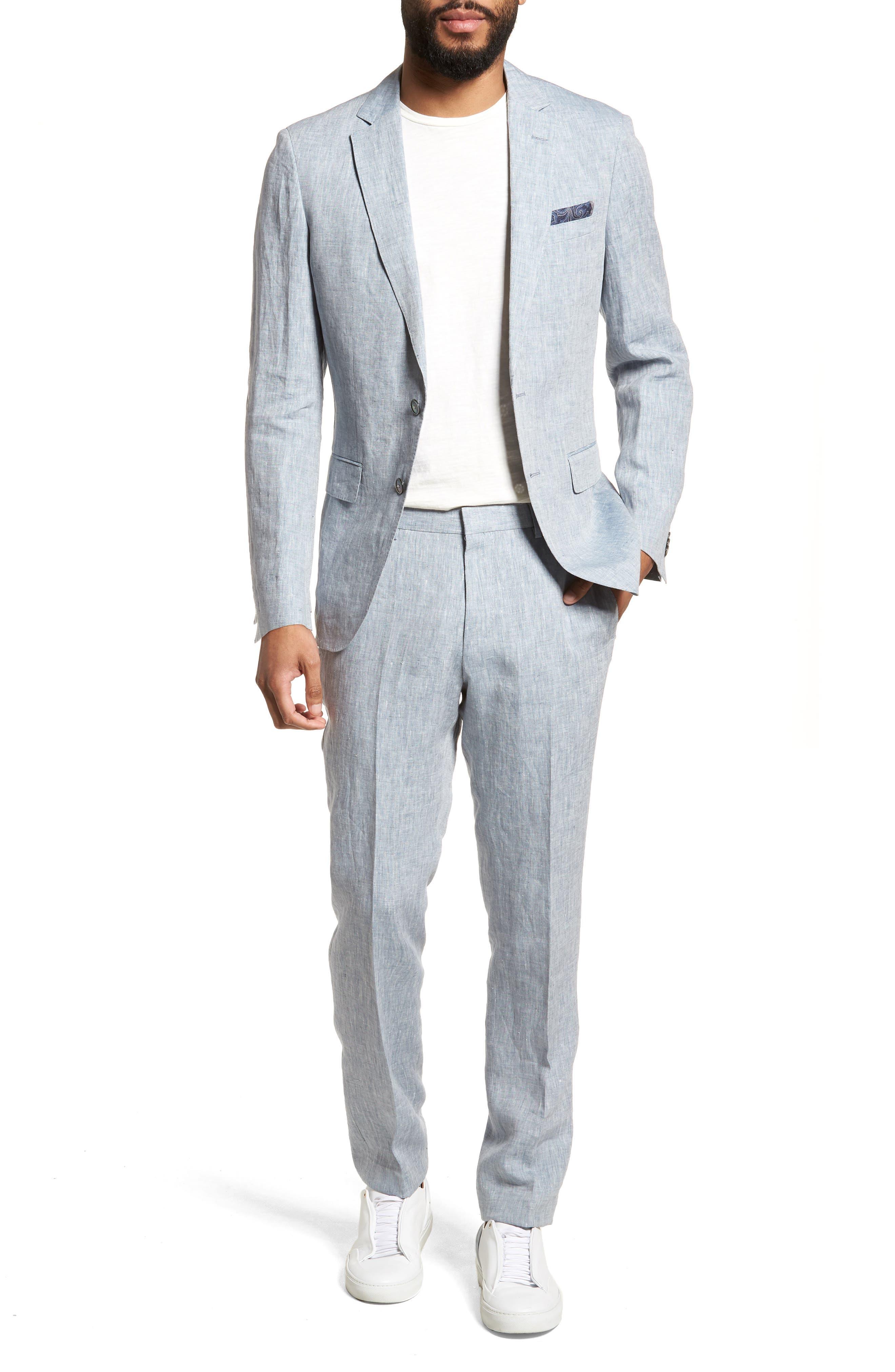 Helford/Gander Trim Fit Solid Linen Suit,                         Main,                         color, Light Blue