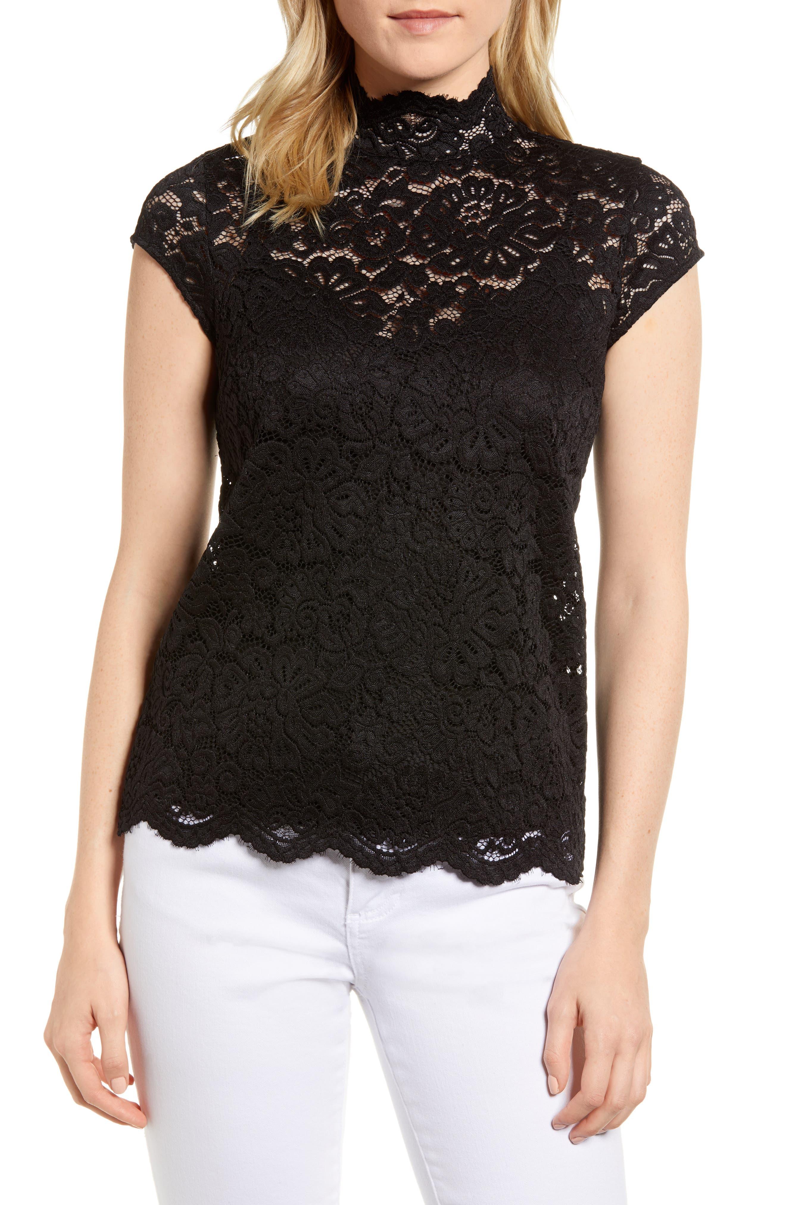 Filippa Lace Cap Sleeve Top,                             Main thumbnail 1, color,                             Black