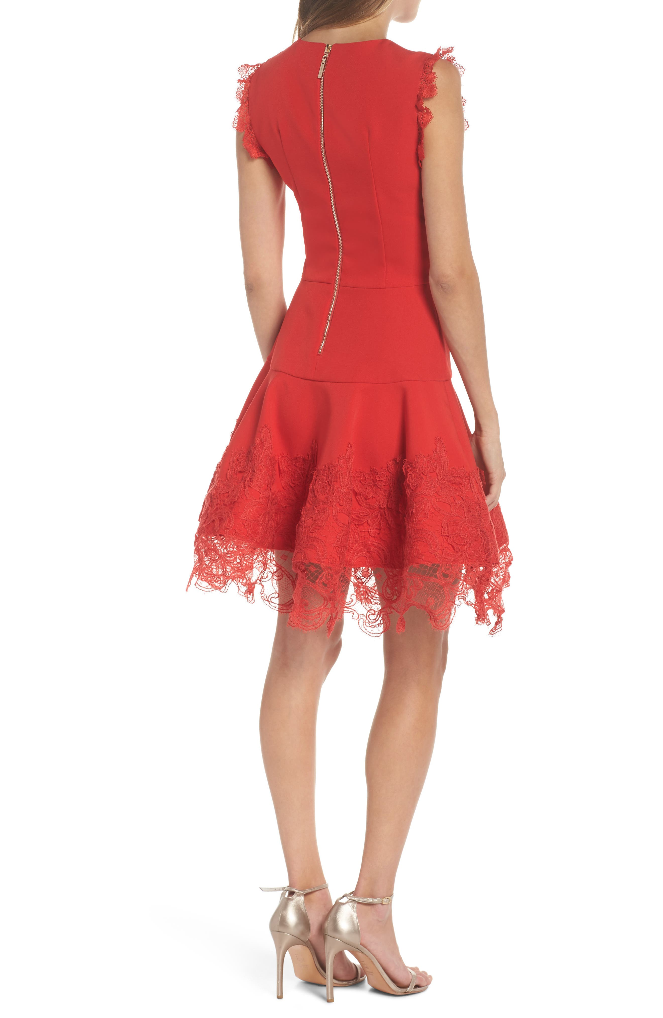 Antonia Fit & Flare Dress,                             Alternate thumbnail 2, color,                             Red