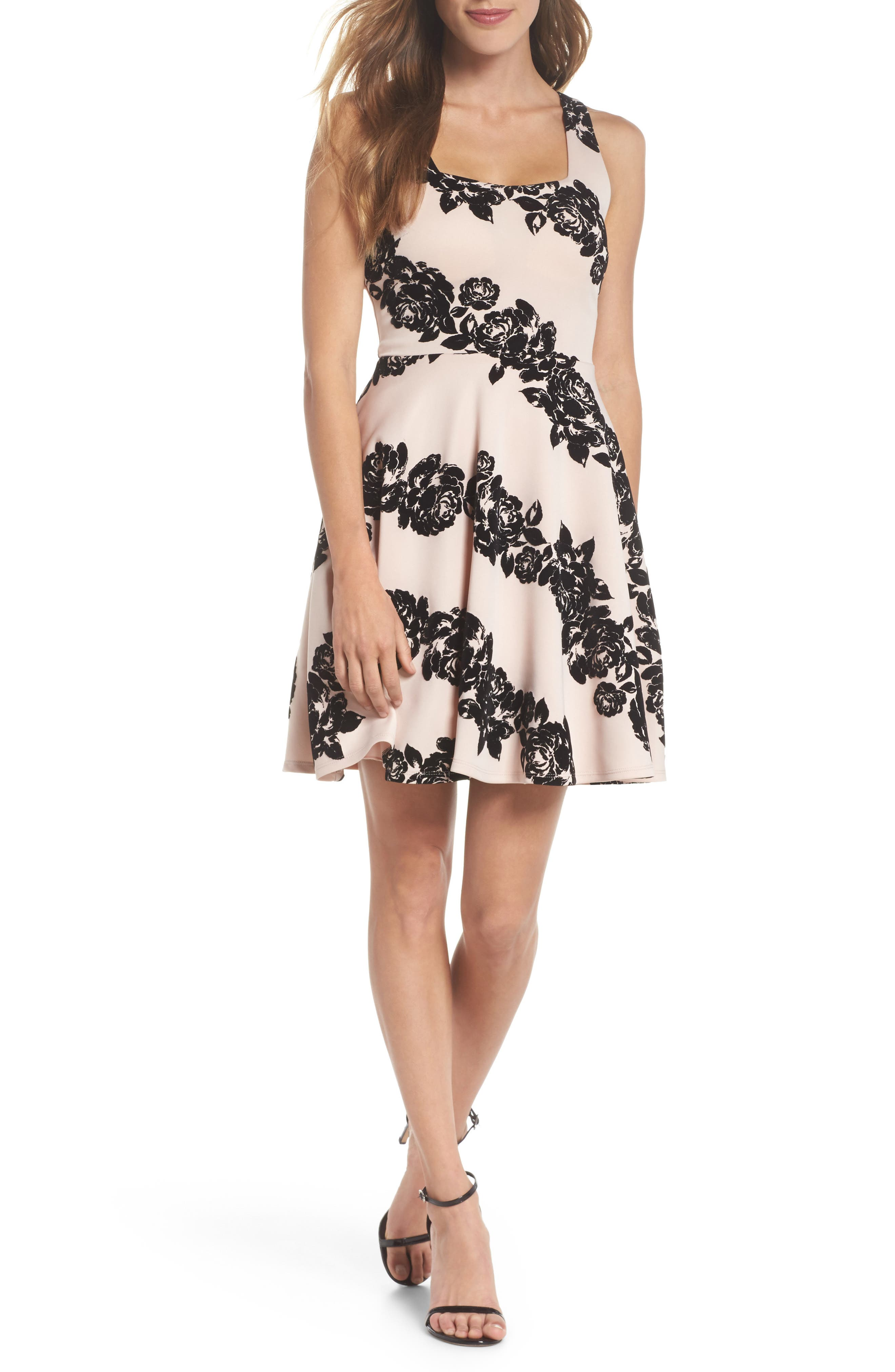 Floral Flocked Fit-and-Flare Dress,                         Main,                         color, Blush/ Black