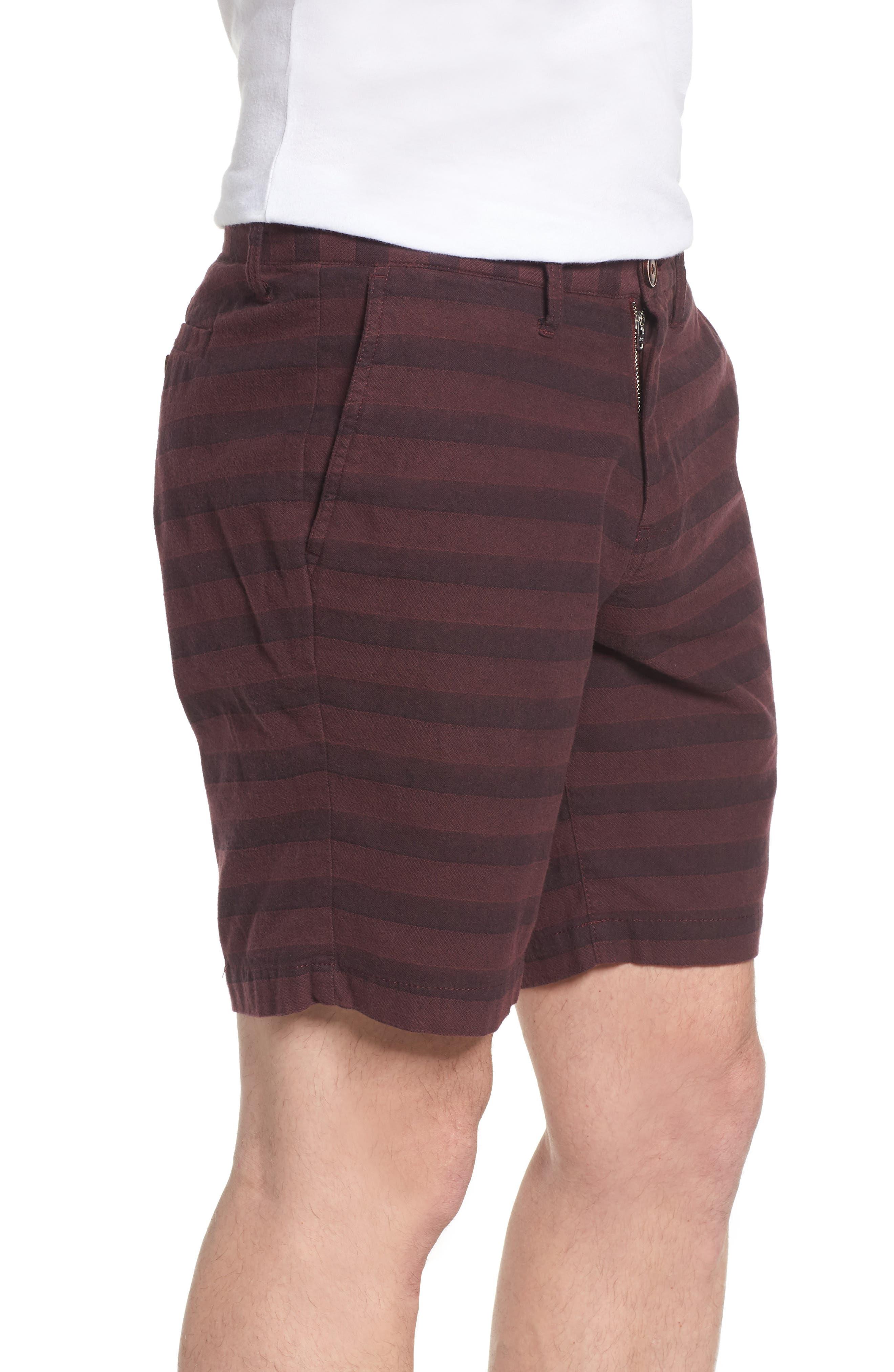 Morgan Stripe Bermuda Shorts,                             Alternate thumbnail 3, color,                             Burgundy