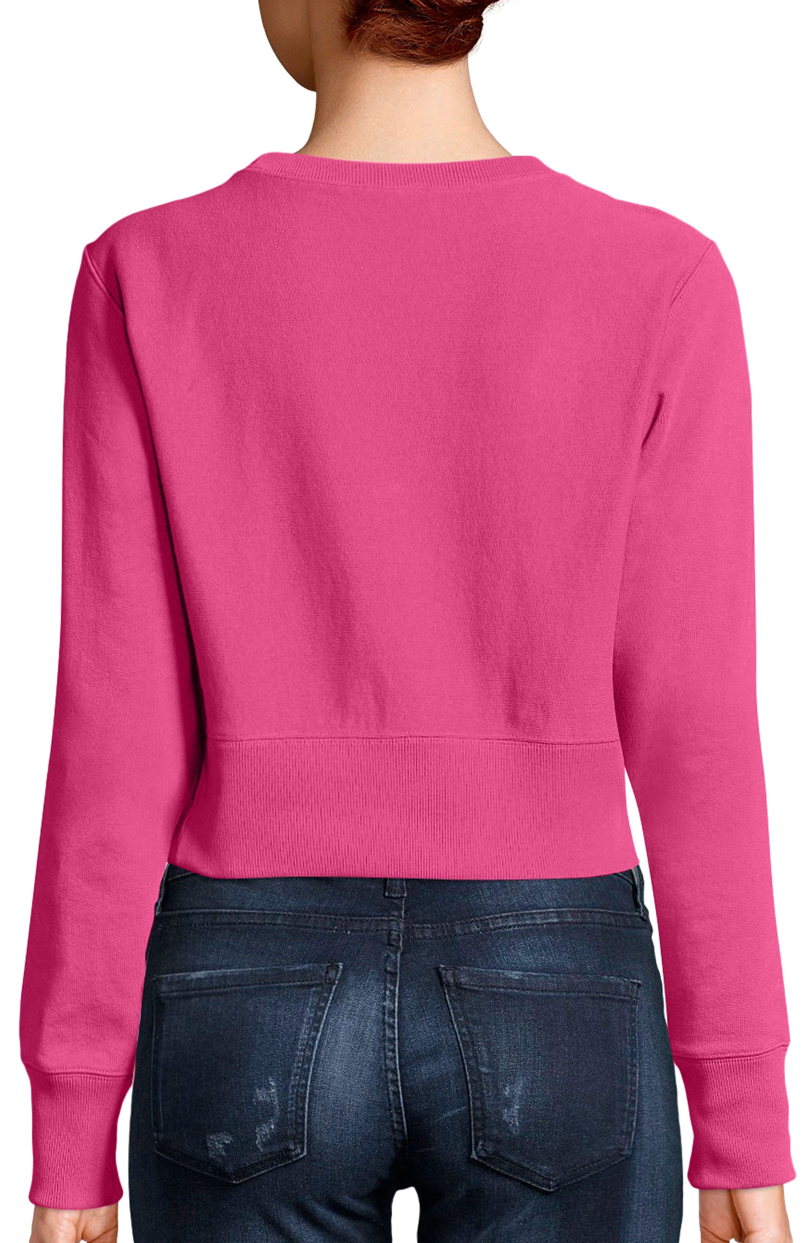 Reverse Weave Crop Sweatshirt,                             Alternate thumbnail 2, color,                             Pink