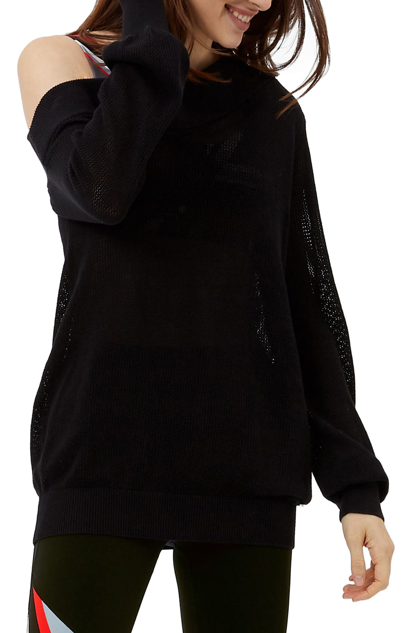 Sweat Betty Enliven One-Shoulder Sweater,                             Main thumbnail 1, color,                             Black