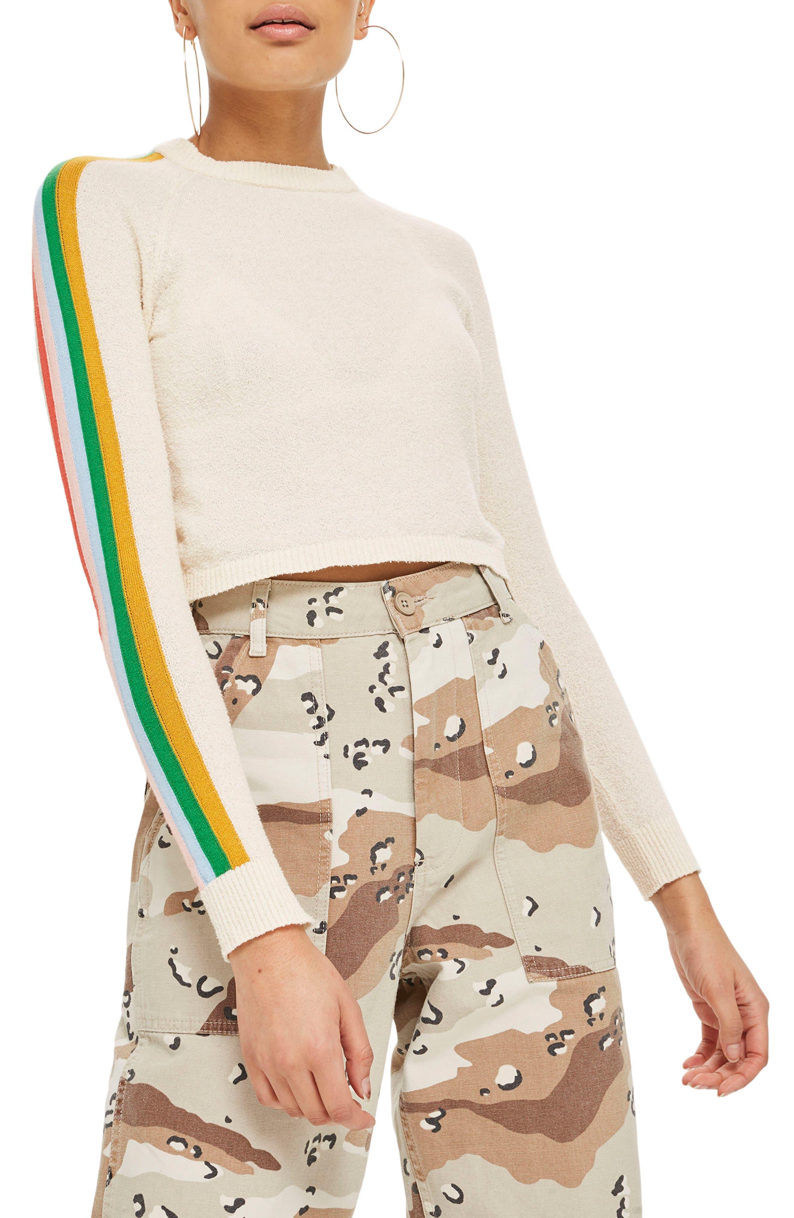 Rainbow Sleeve Knit Top,                             Main thumbnail 1, color,                             Cream Multi