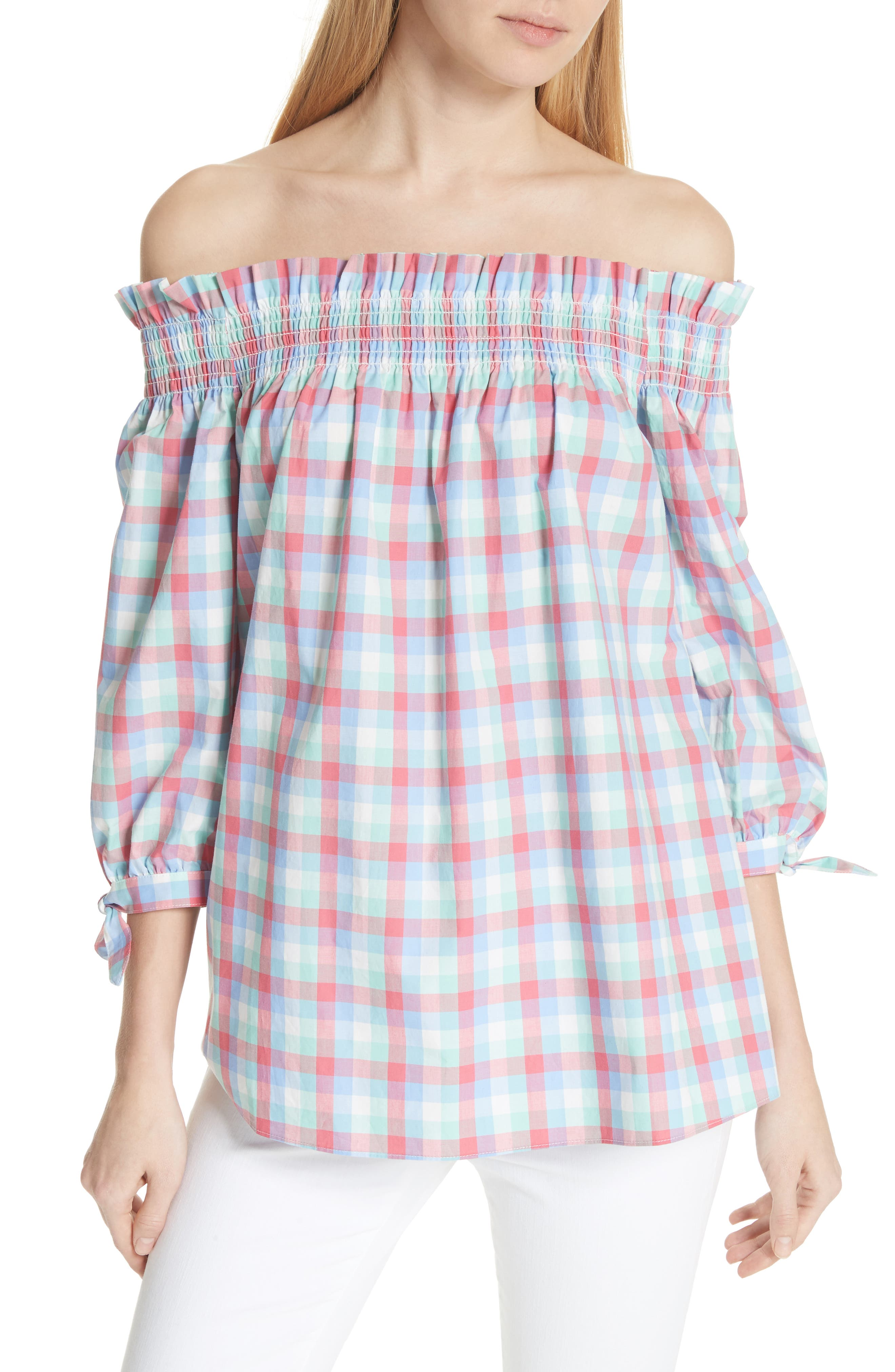 off the shoulder madras top,                             Main thumbnail 1, color,                             Multi