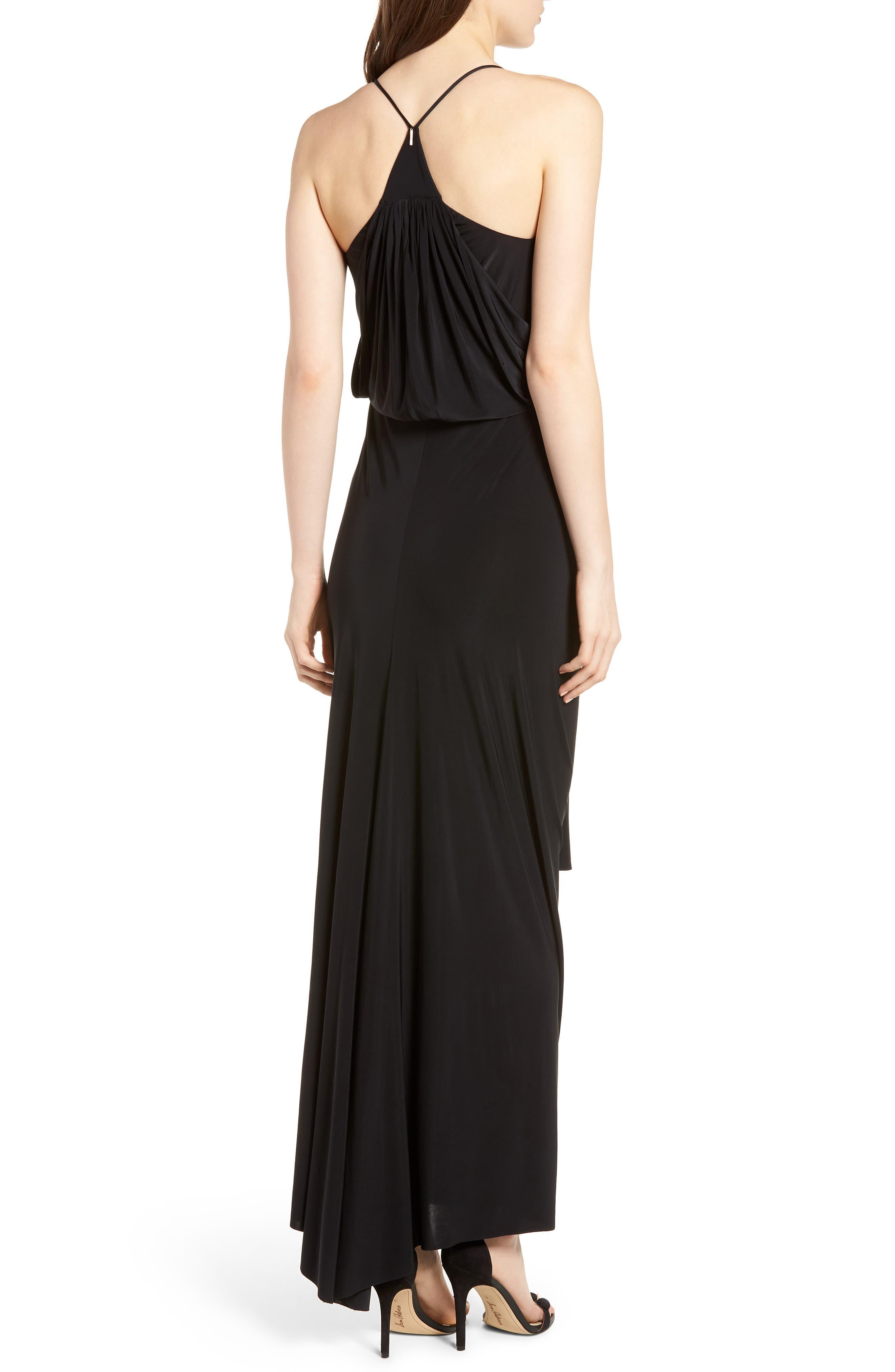 Domino Knot Maxi Dress,                             Alternate thumbnail 2, color,                             Black
