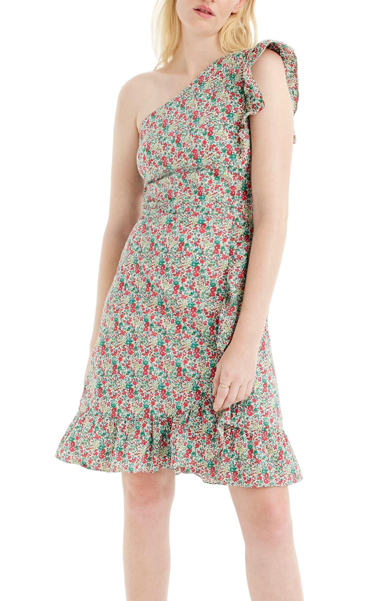 J.Crew Asymmetrical Liberty<sup>®</sup> Ruffle Dress,                         Main,                         color, Red Multi