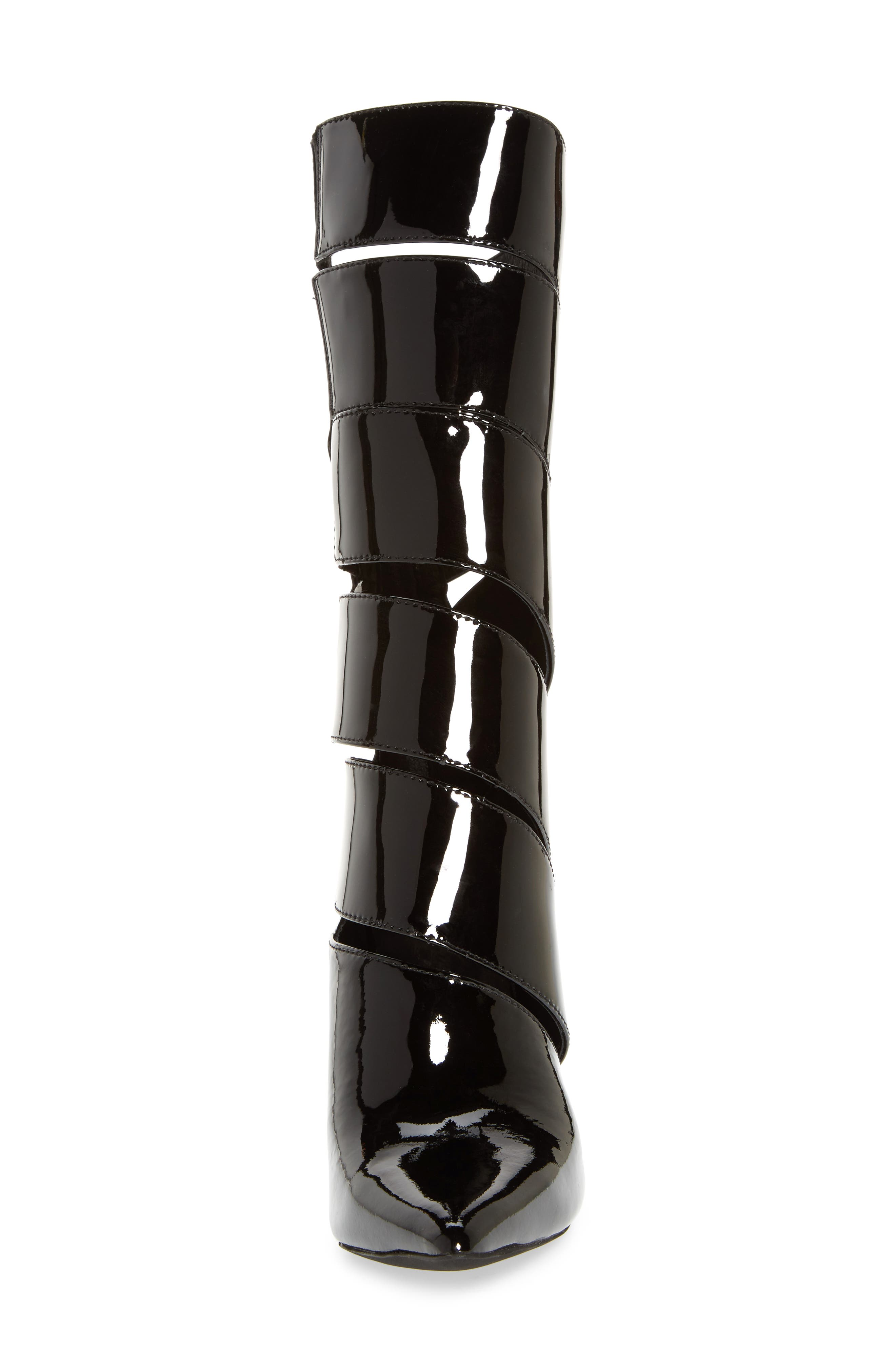 Stunt Pointy Toe Boot,                             Alternate thumbnail 4, color,                             Black Patent Leather