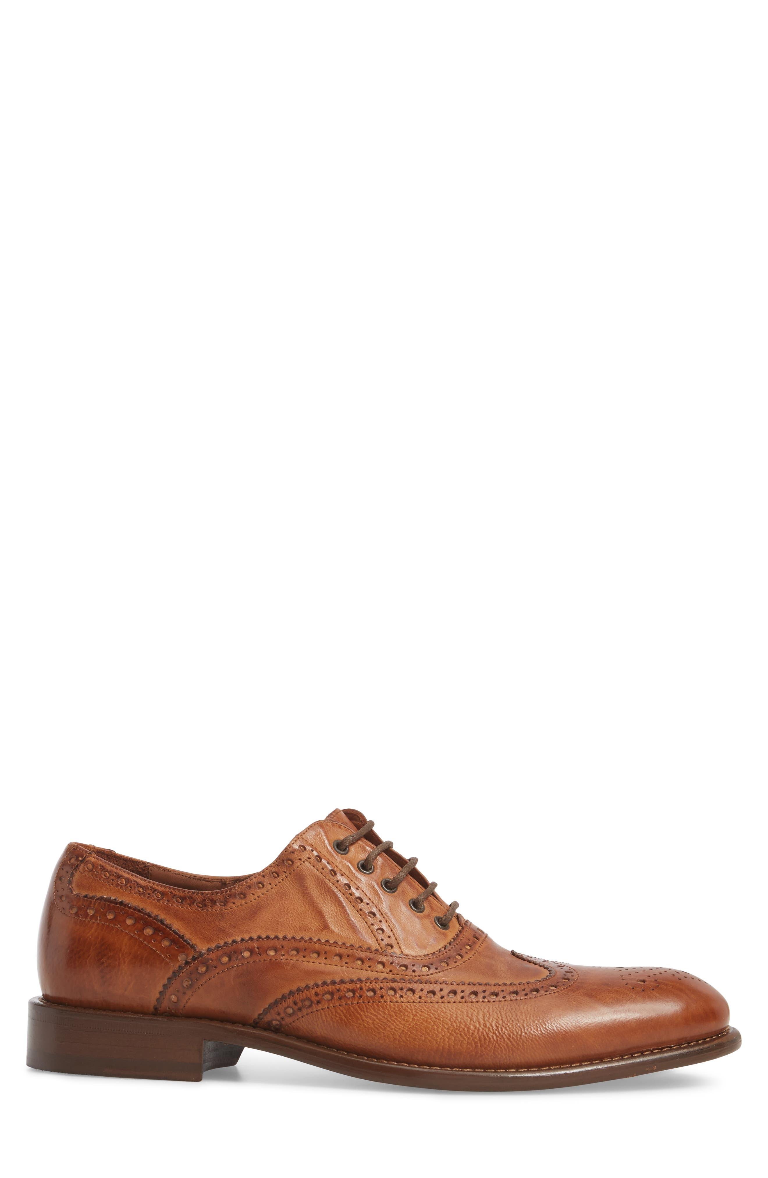 Bryson Wingtip Oxford,                             Alternate thumbnail 3, color,                             Cognac Leather