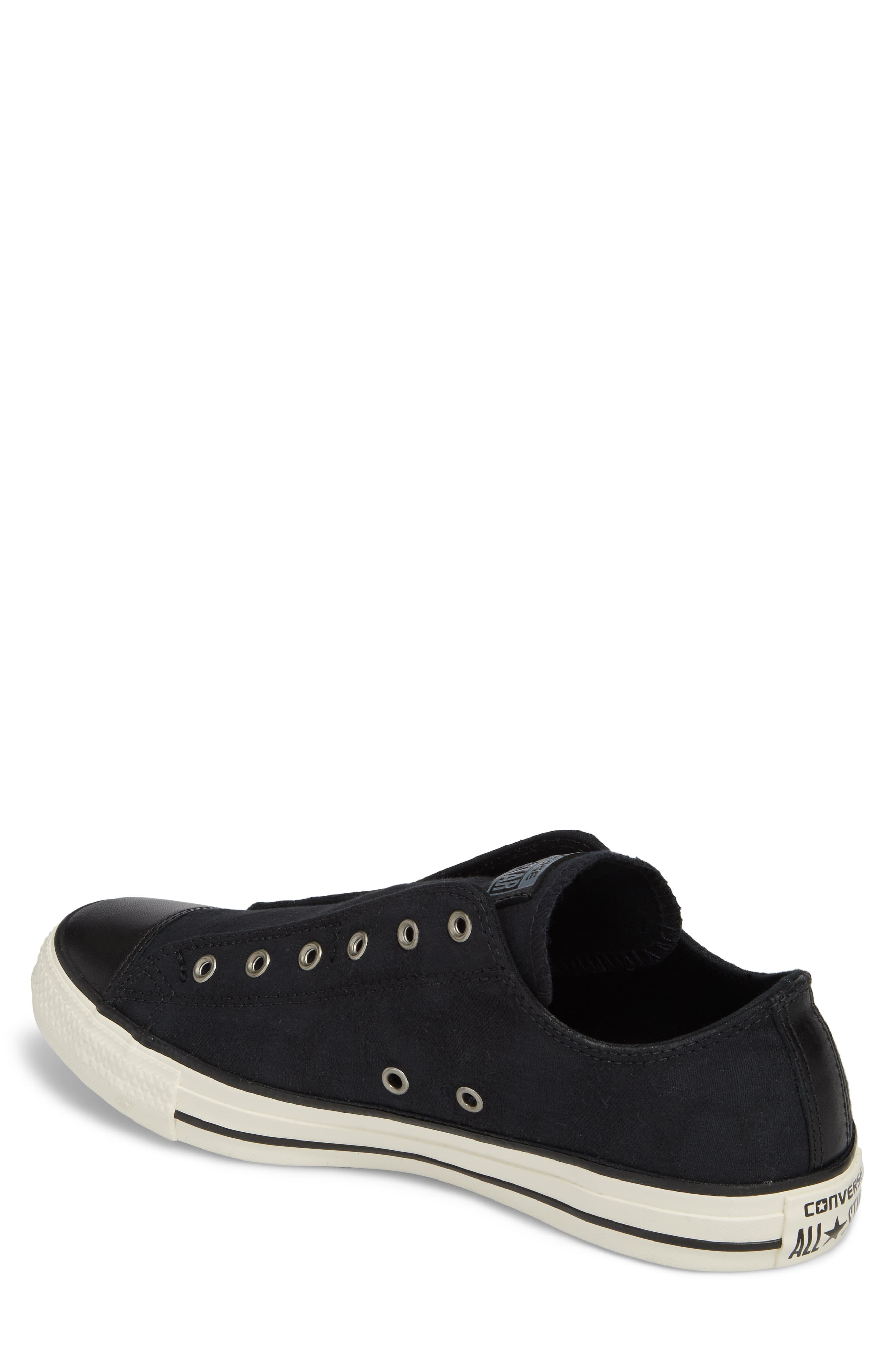 Chuck Taylor<sup>®</sup> All Star<sup>®</sup> Laceless Low Top Sneaker,                             Alternate thumbnail 2, color,                             Black