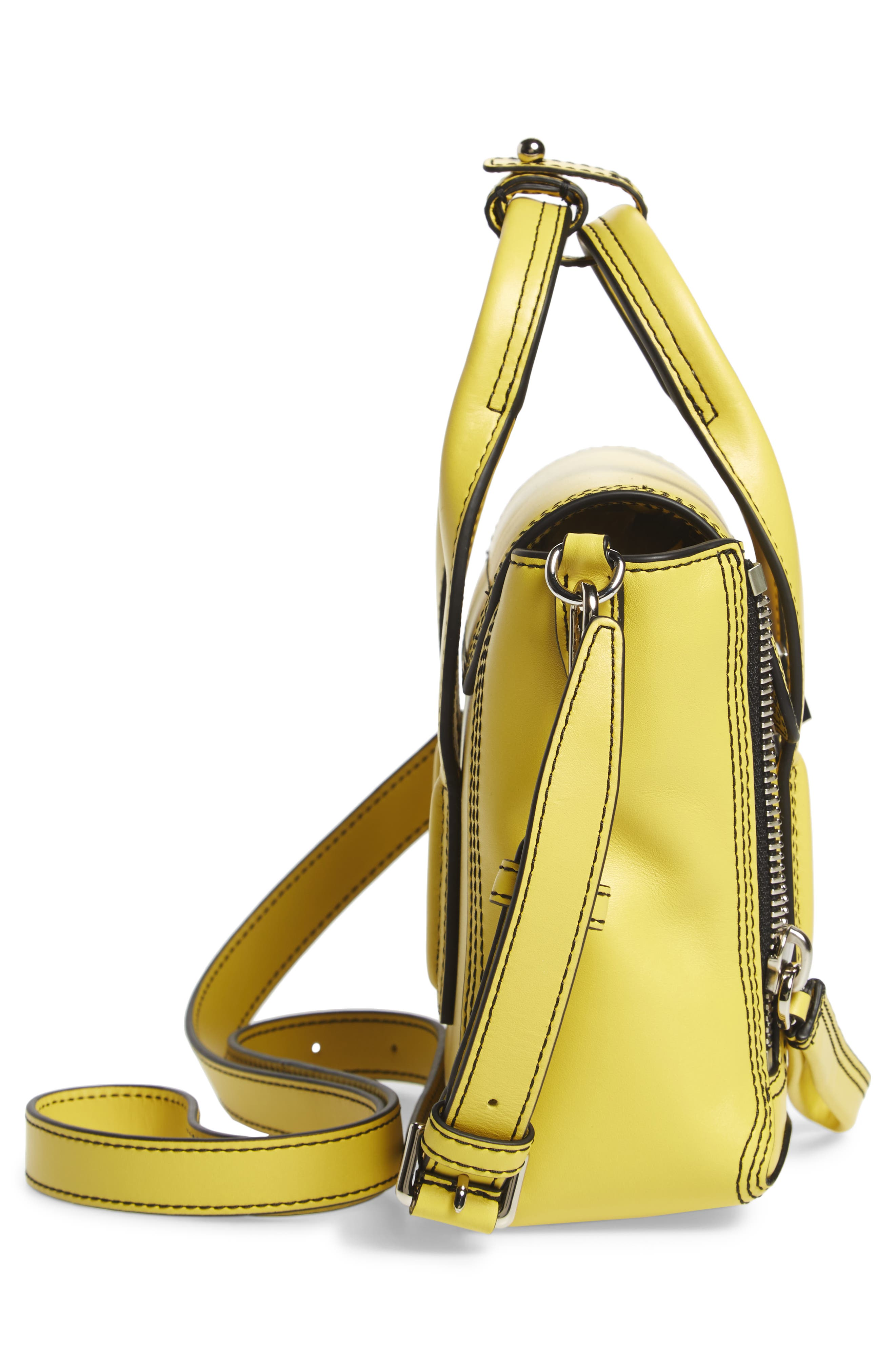 Mini Pashli Leather Satchel,                             Alternate thumbnail 5, color,                             Chartreuse