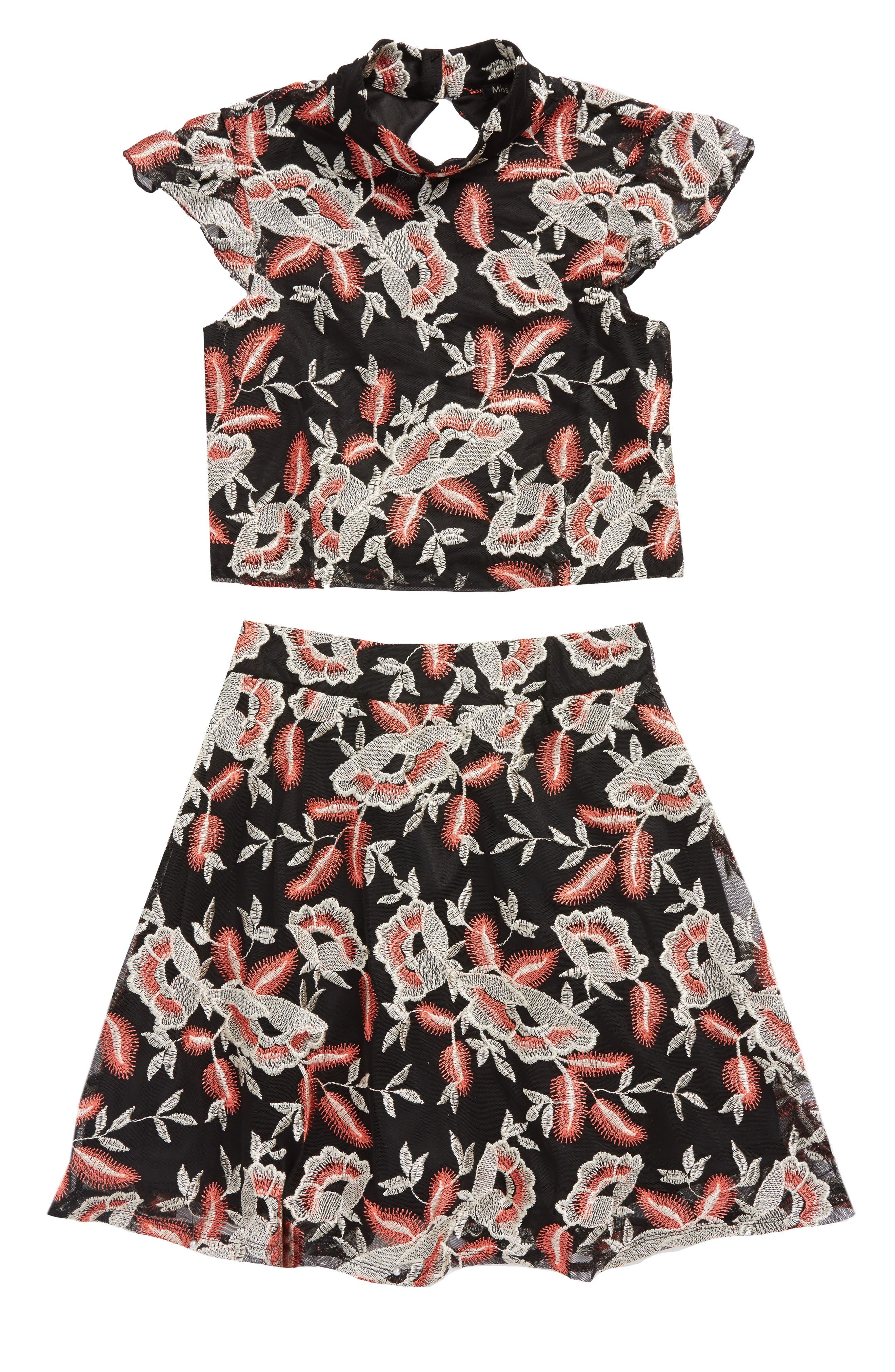 Floral Embroidered Top & Skirt Set,                         Main,                         color, Black