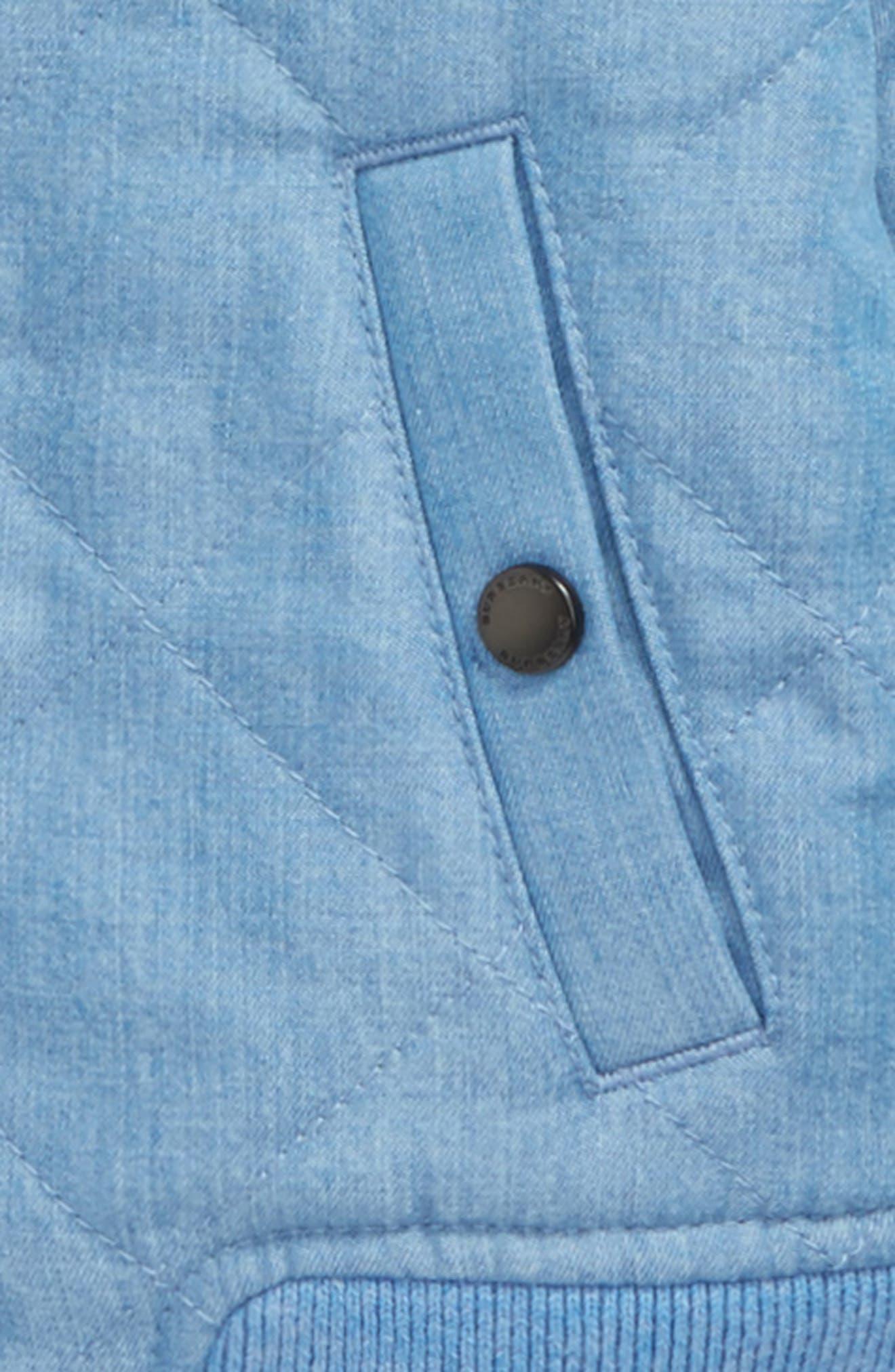 Joelle Denim Quilted Bomber Jacket,                             Alternate thumbnail 2, color,                             Steel Blue