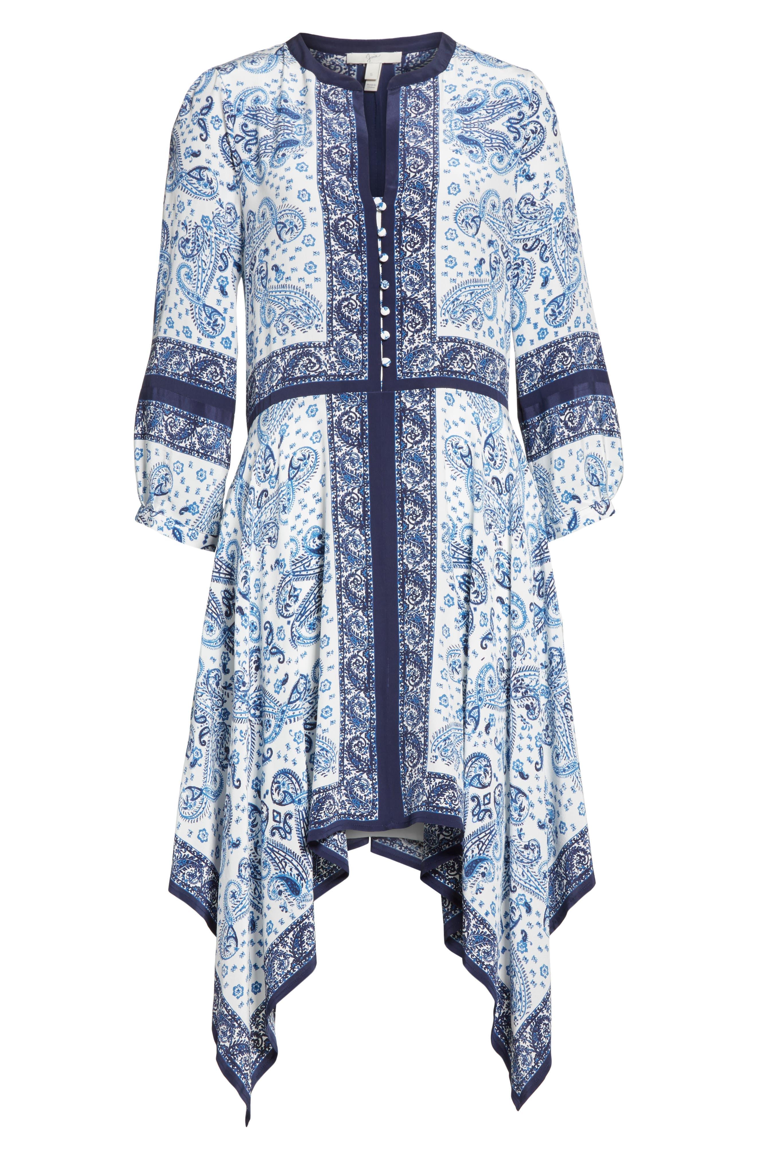 Cyntia Paisley Silk Dress,                             Alternate thumbnail 6, color,                             Porcelain