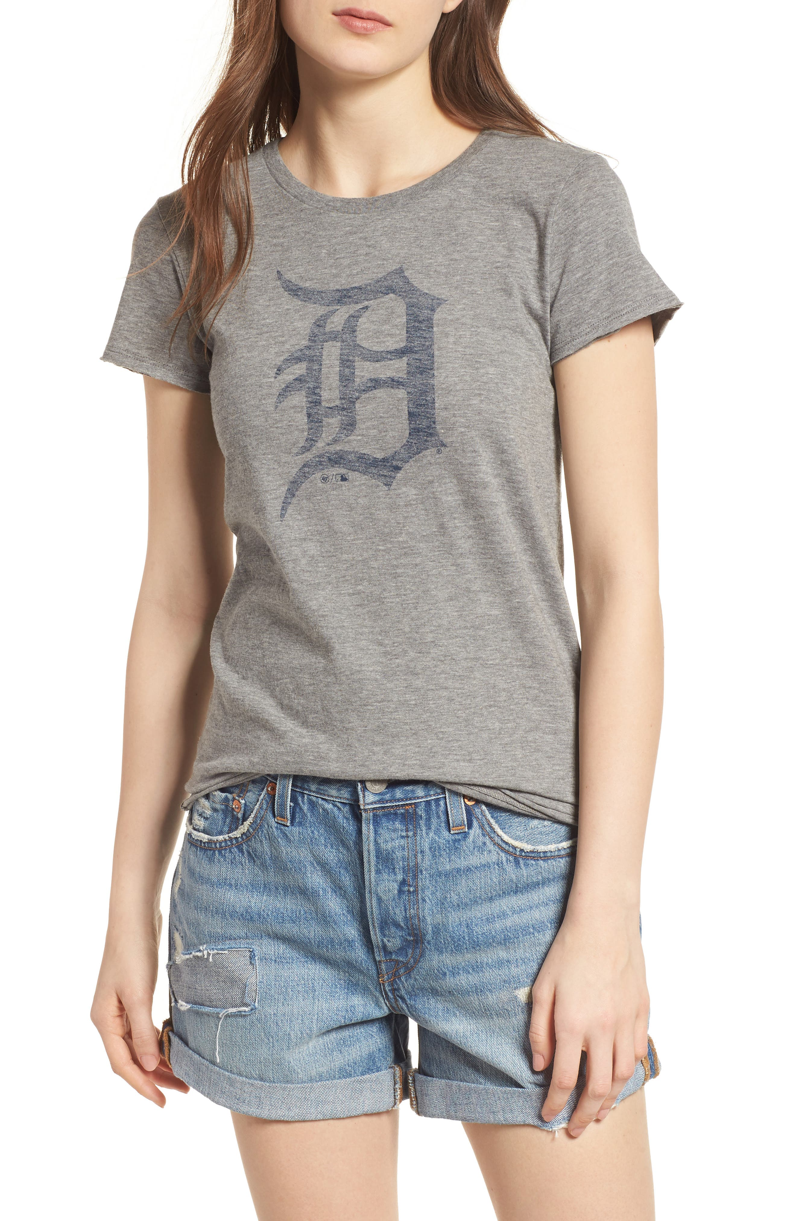 Detroit Tigers Fader Letter Tee,                             Main thumbnail 1, color,                             Slate Grey