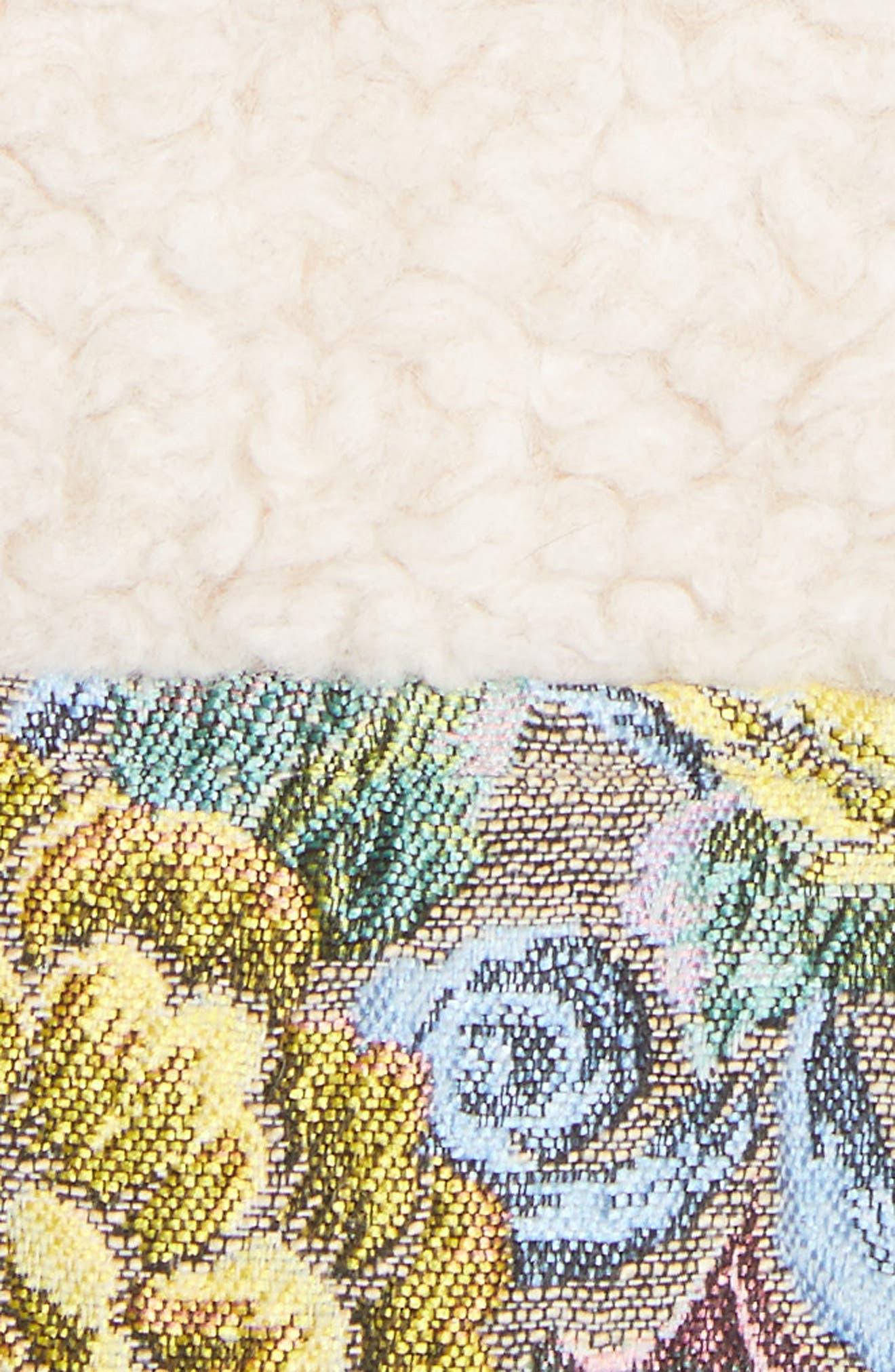 Bayside Floral Trim Fleece Jacket,                             Alternate thumbnail 6, color,                             Creamy