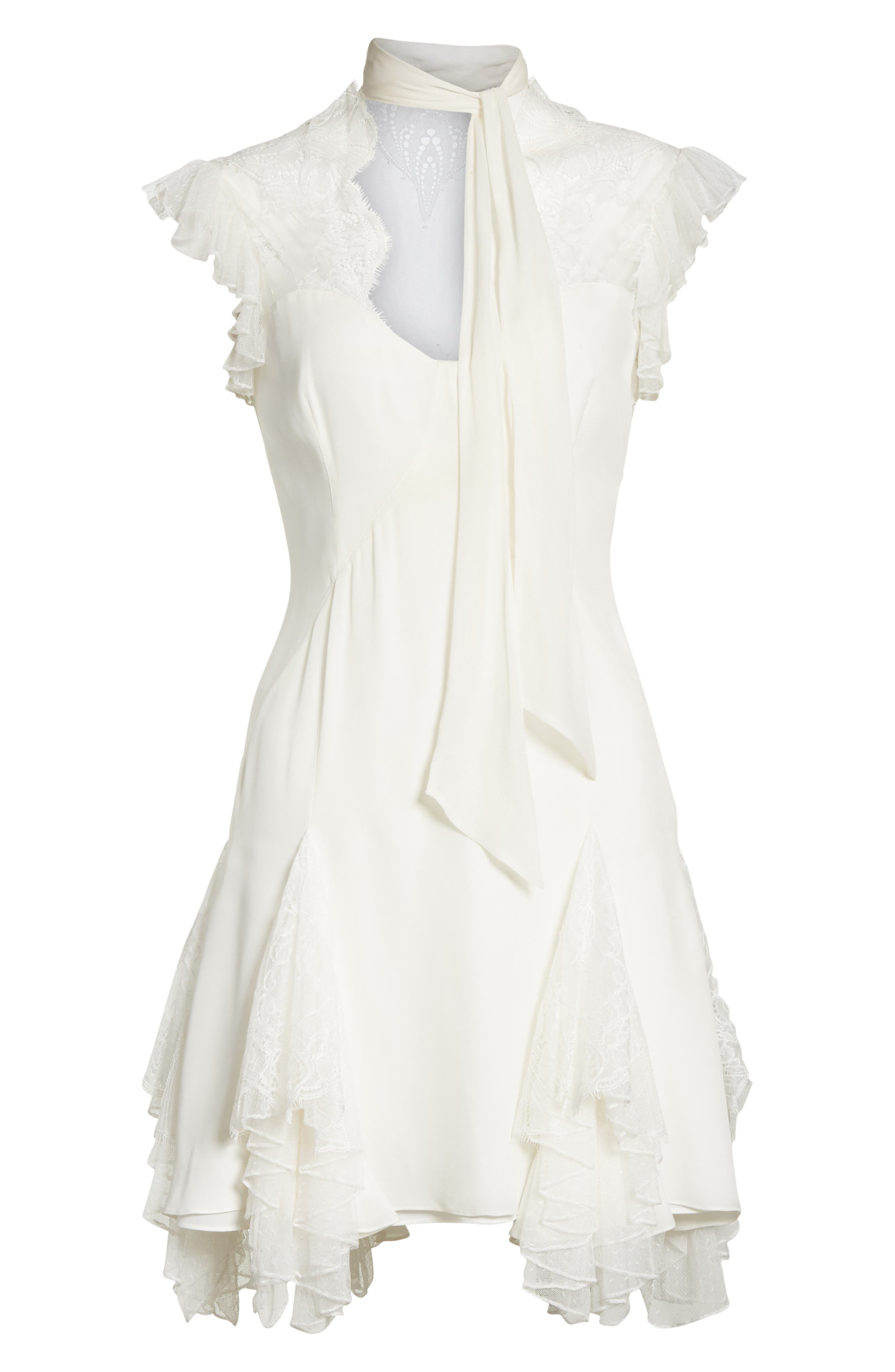 Clotilde Lace Trim Silk Dress with Scarf,                             Alternate thumbnail 6, color,                             Ivory