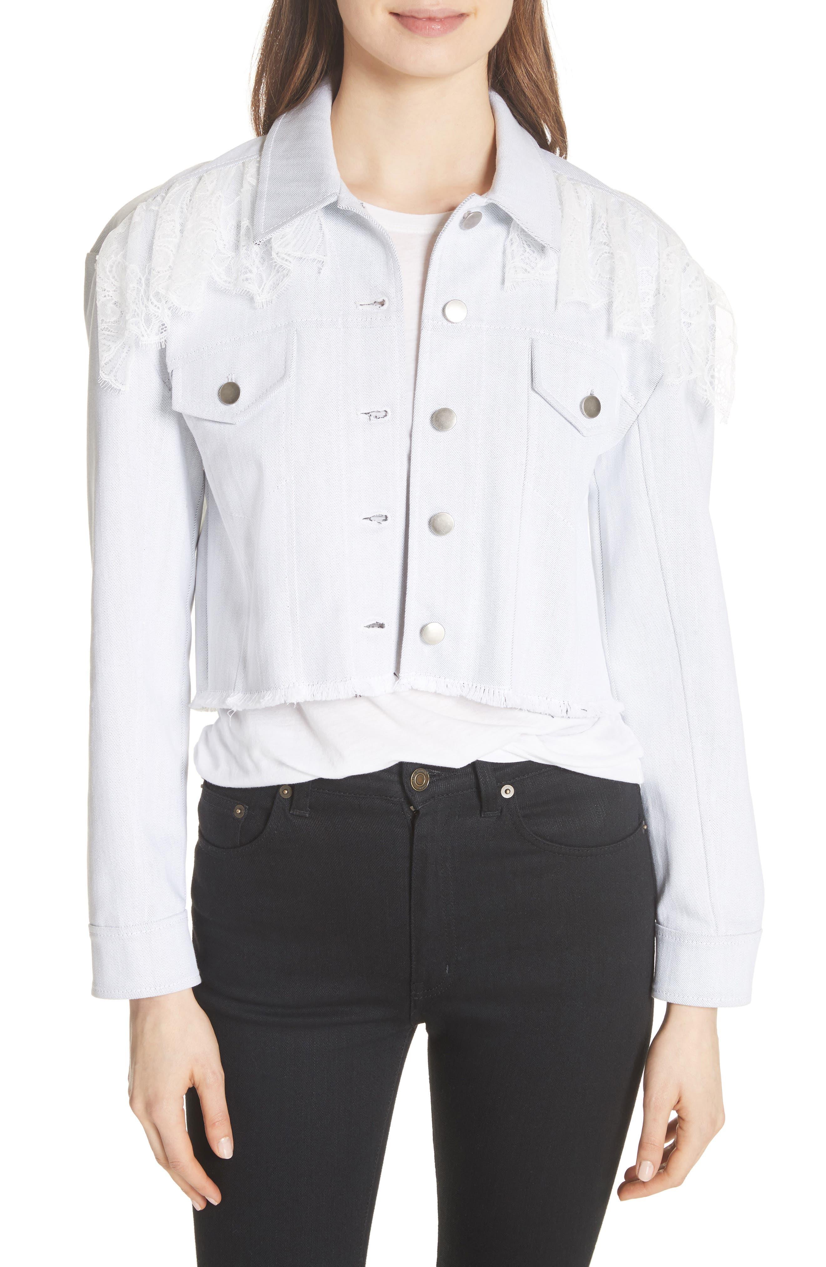 Cinq à Sept Ismay Lace Shoulder Crop Denim Jacket