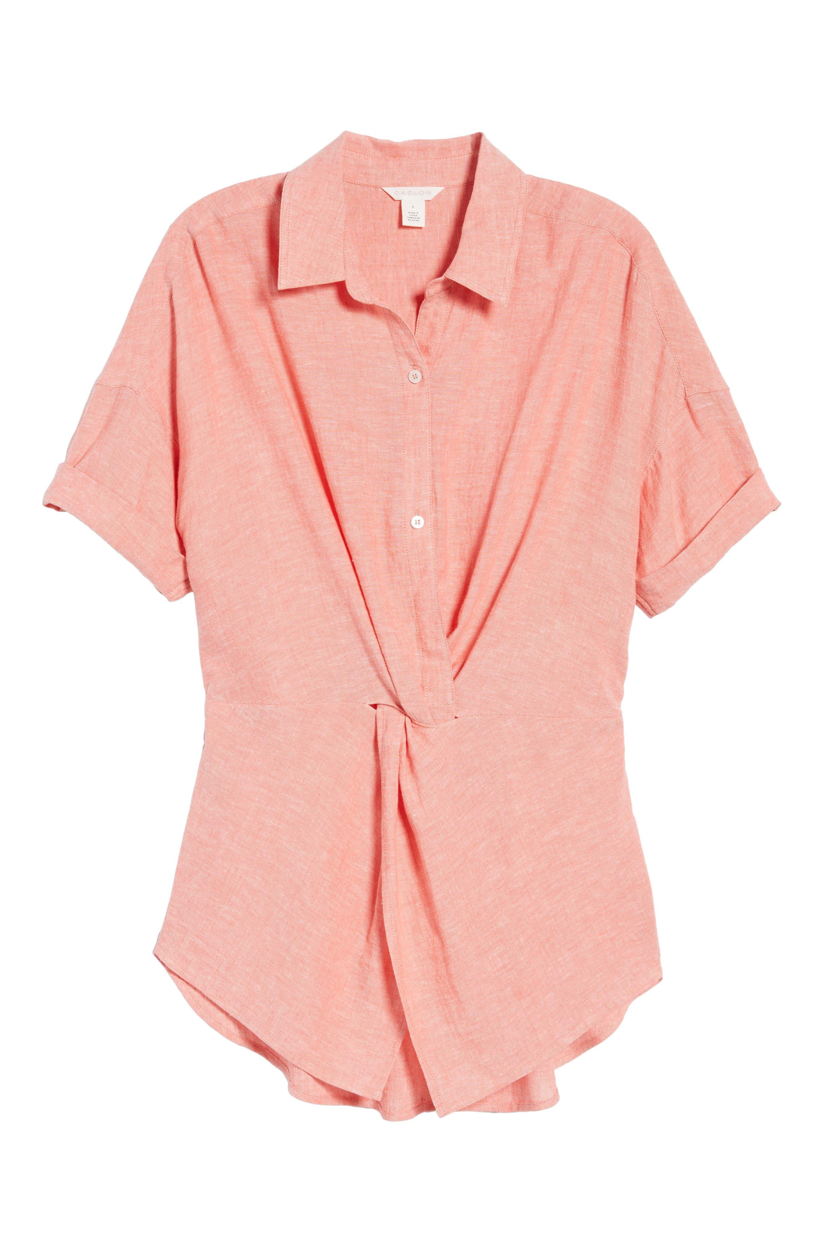 Twist Front Linen Blend Shirt,                             Alternate thumbnail 7, color,                             Coral Rose Crossdye