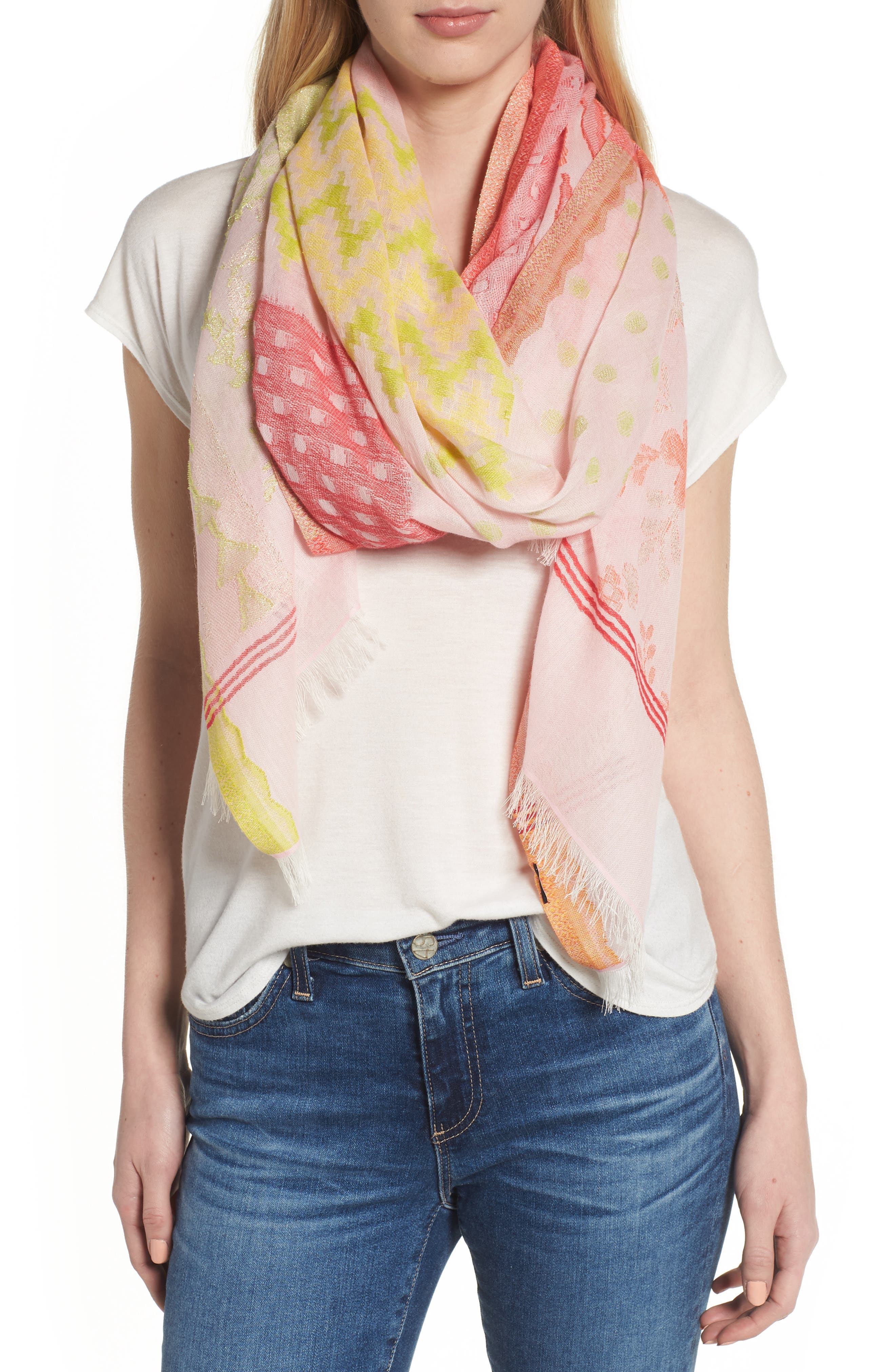 Patchwork Print Cotton Scarf,                         Main,                         color, Pearl Pink
