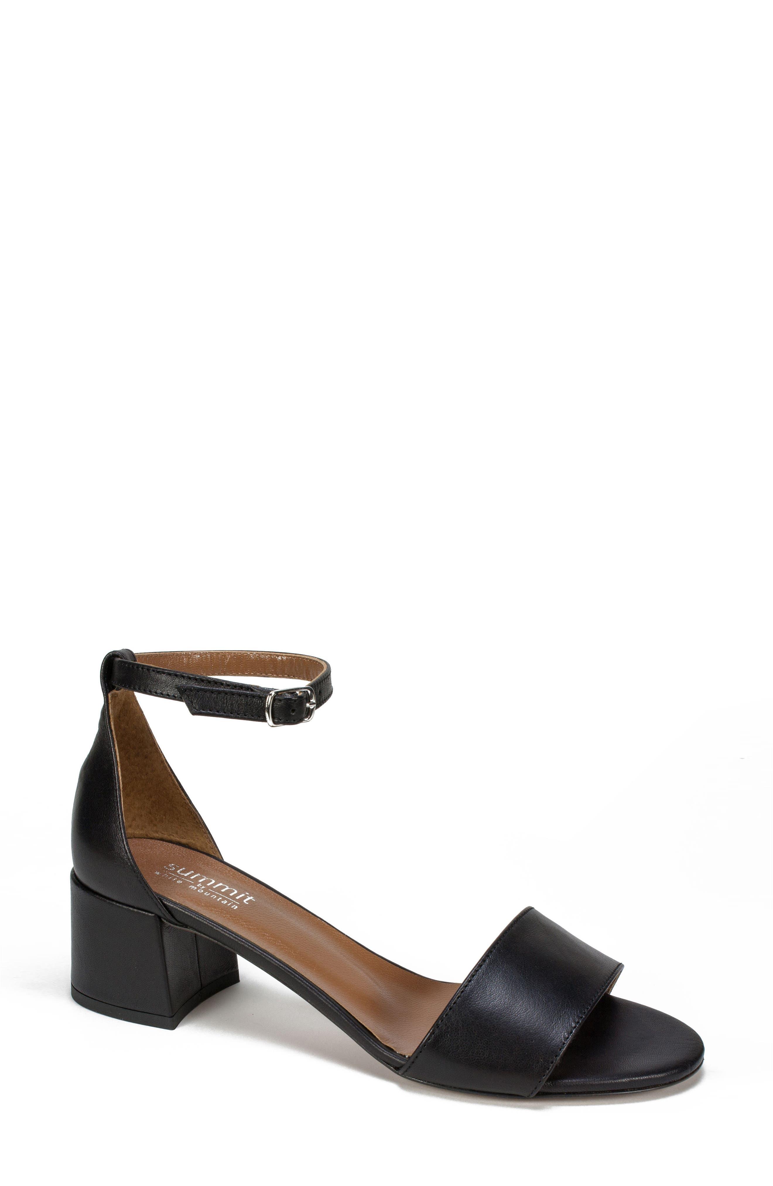 Ameila Block Heel Sandal,                             Main thumbnail 1, color,                             Black Leather