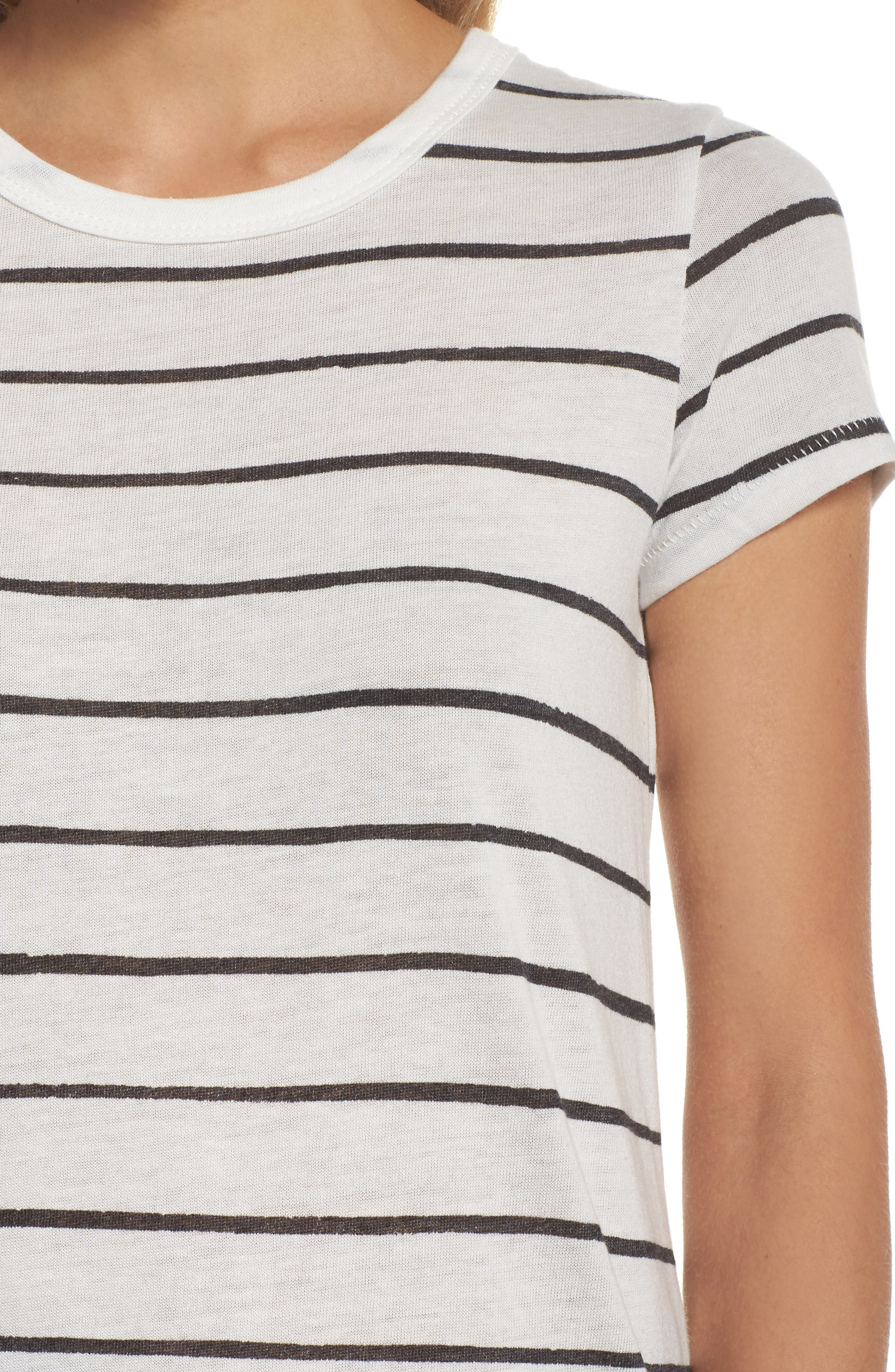 Ideal Print Tee,                             Alternate thumbnail 5, color,                             Eco Ivory Ink Stripe